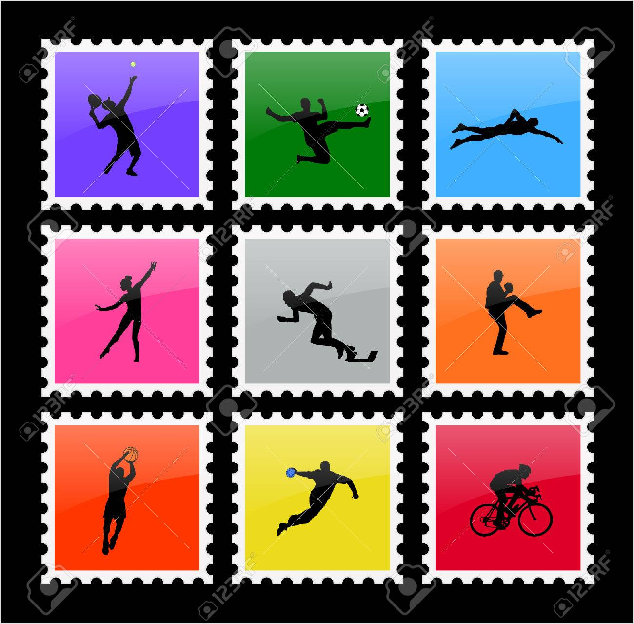 colorful sport stamps - vector Stock Vector - 5500726