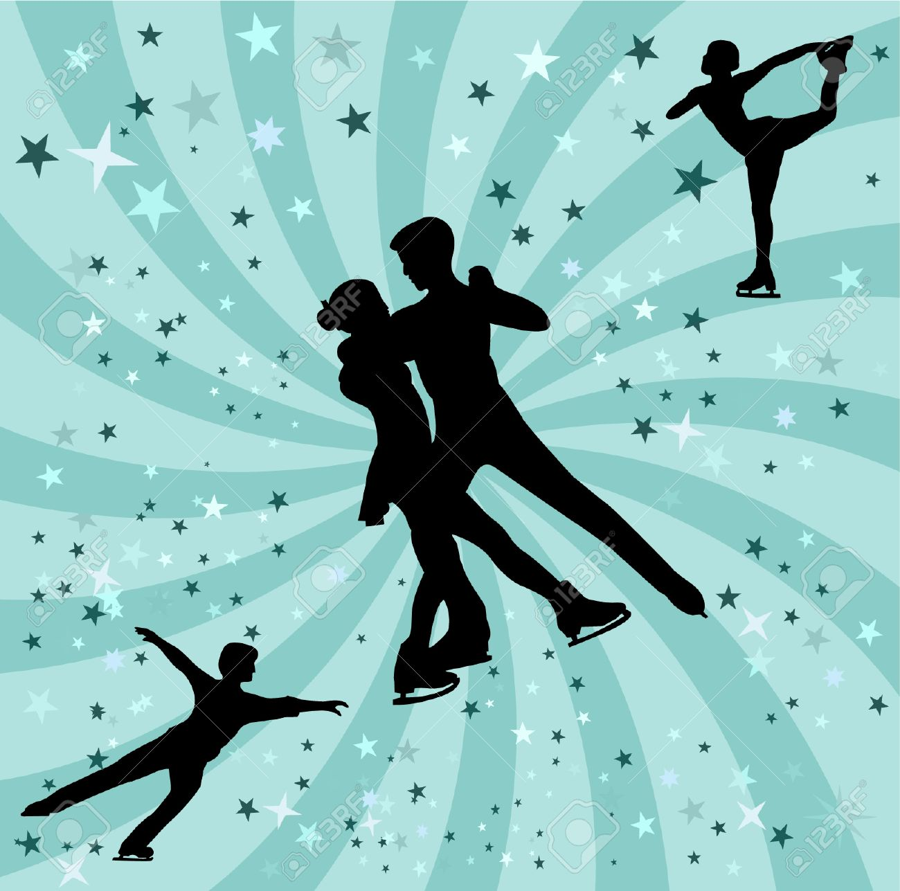 figure skating silhouette - vectors Stock Vector - 5500729