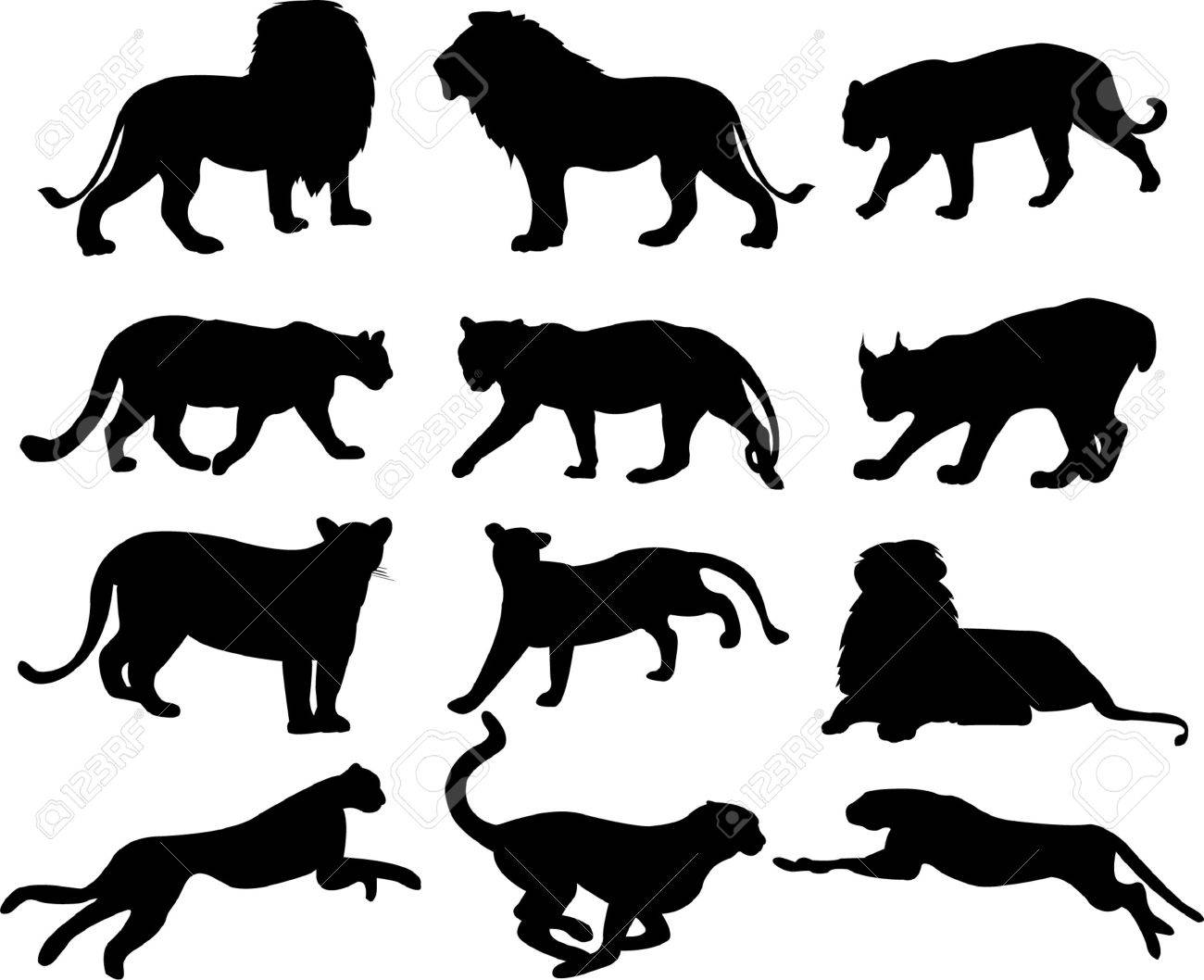 big cats silhouette collection - vector Stock Vector - 5996624