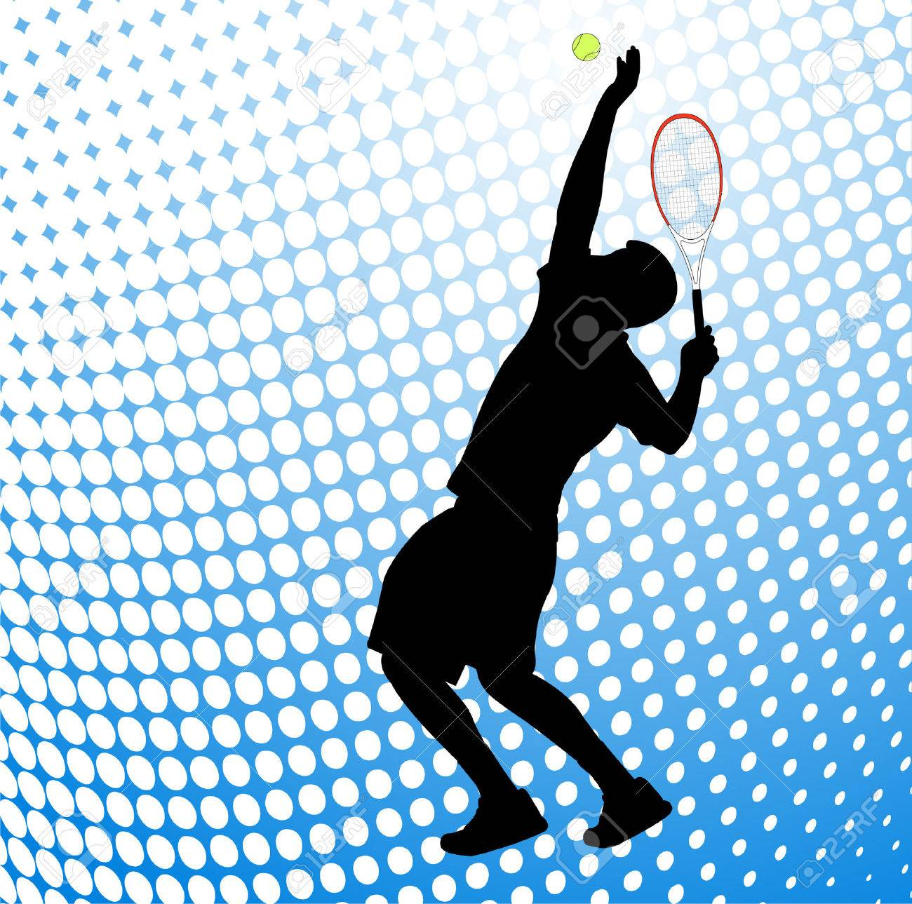 tennis player silhouette on the halftone background Stock Vector - 6660401
