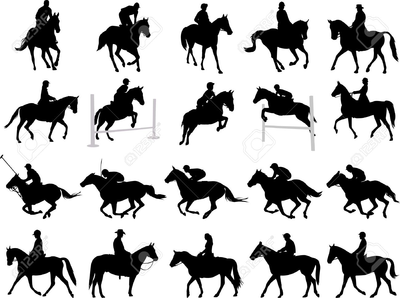 Hunter Horse Silhouette Silhouettes Horse