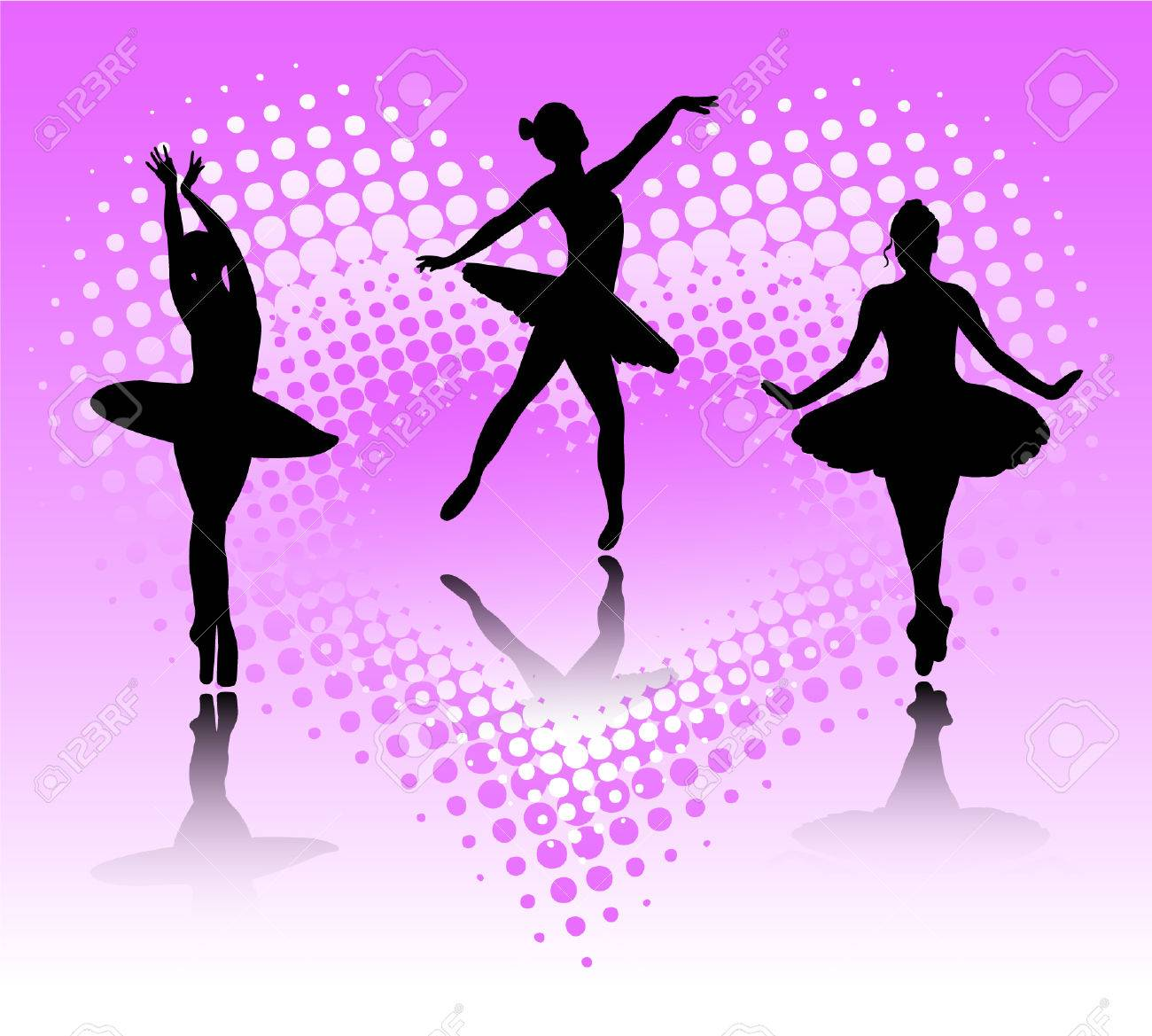 ballet dancers on the abstract background Stock Vector - 7906304