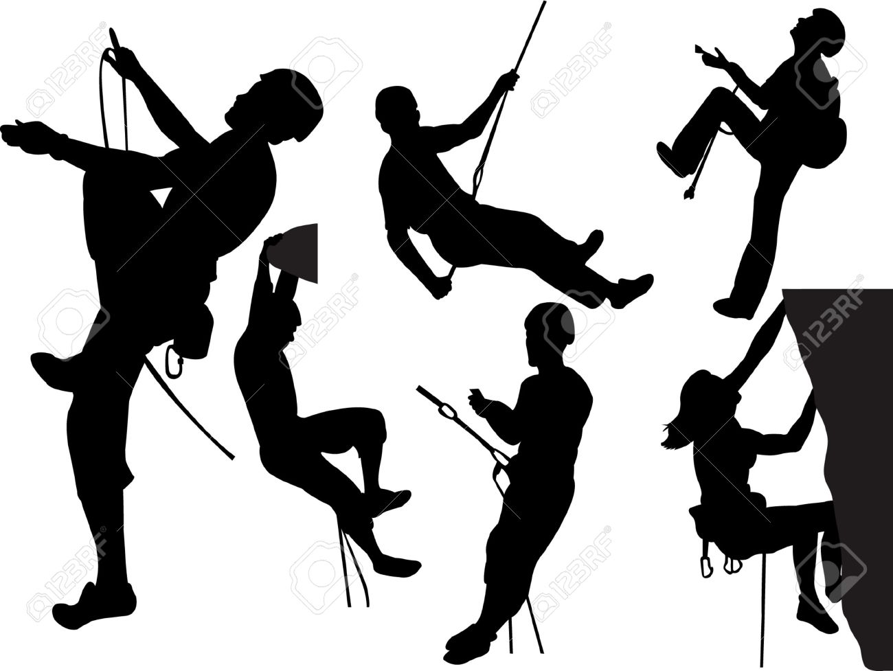 rock climbers silhouette collection Stock Vector - 8255645
