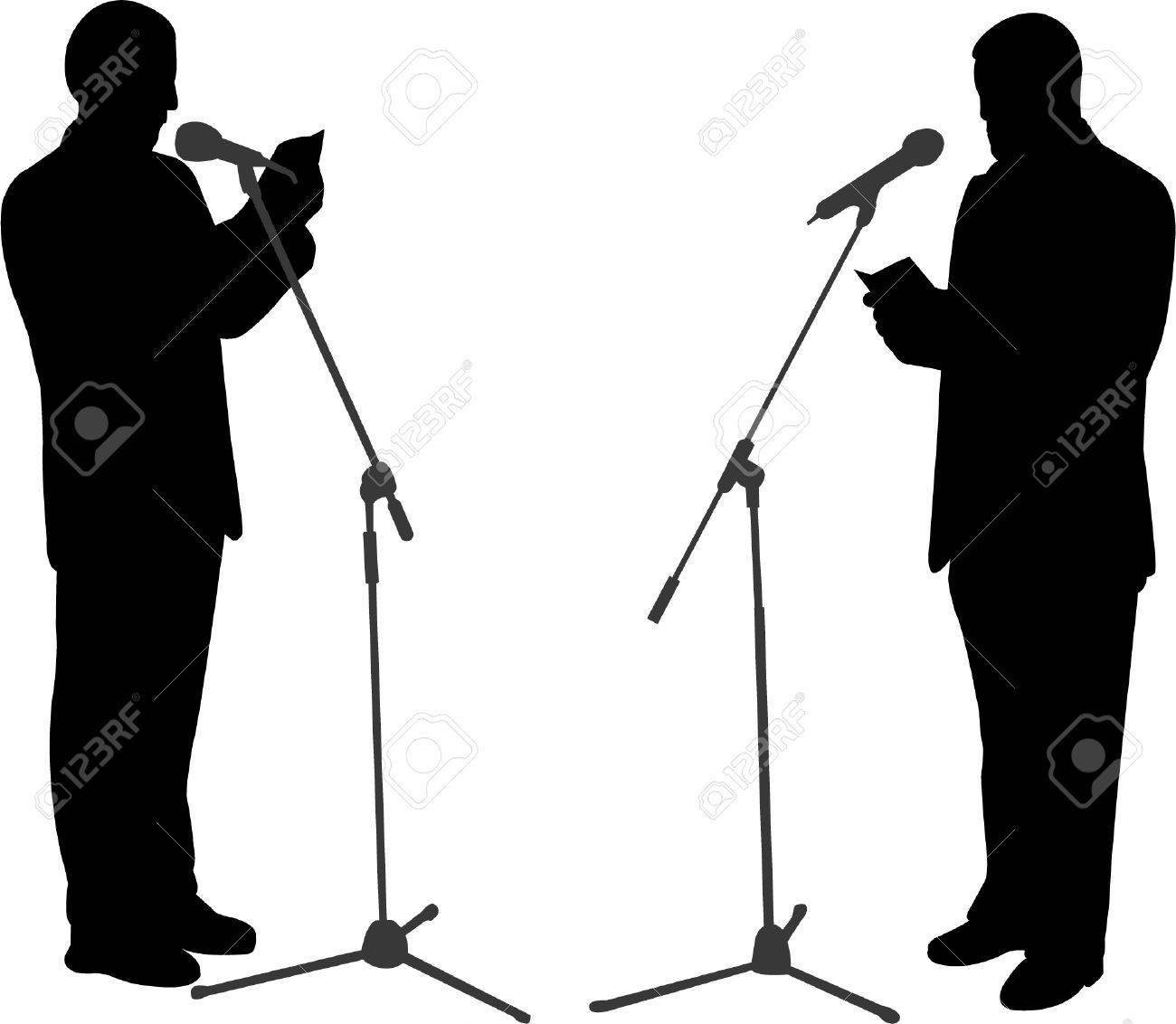 silhouettes of men public speaking - vector Stock Vector - 8422229