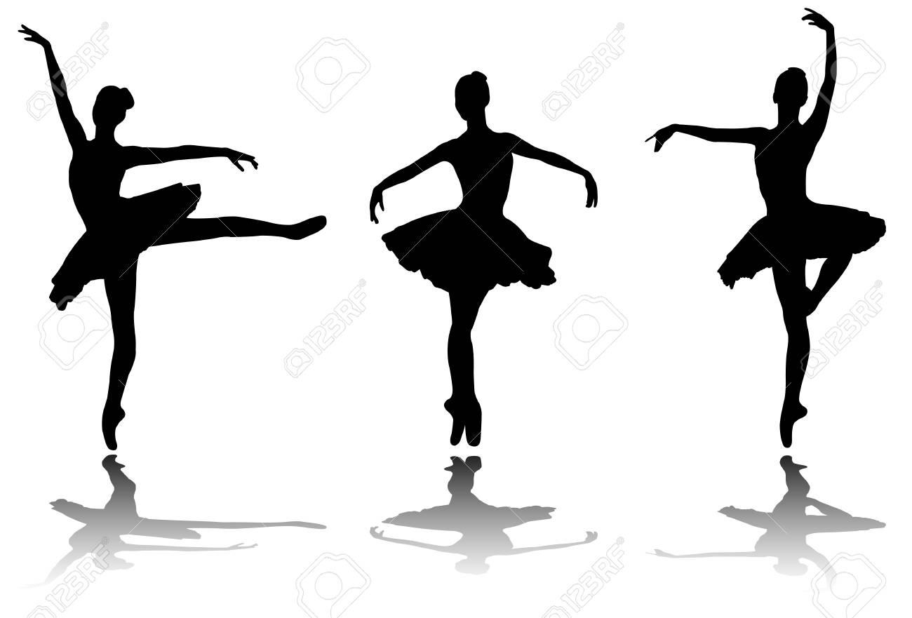 elegant ballerinas silhouettes - vector - 90922318