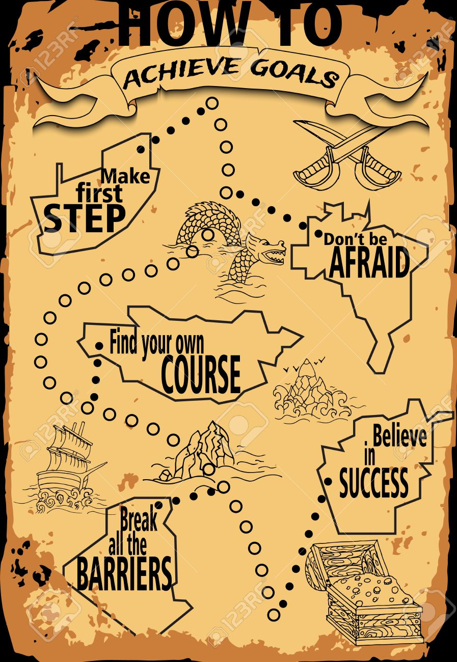 Main Infographie De Dessin Dans Le Style Pirate Carte Au Tresor