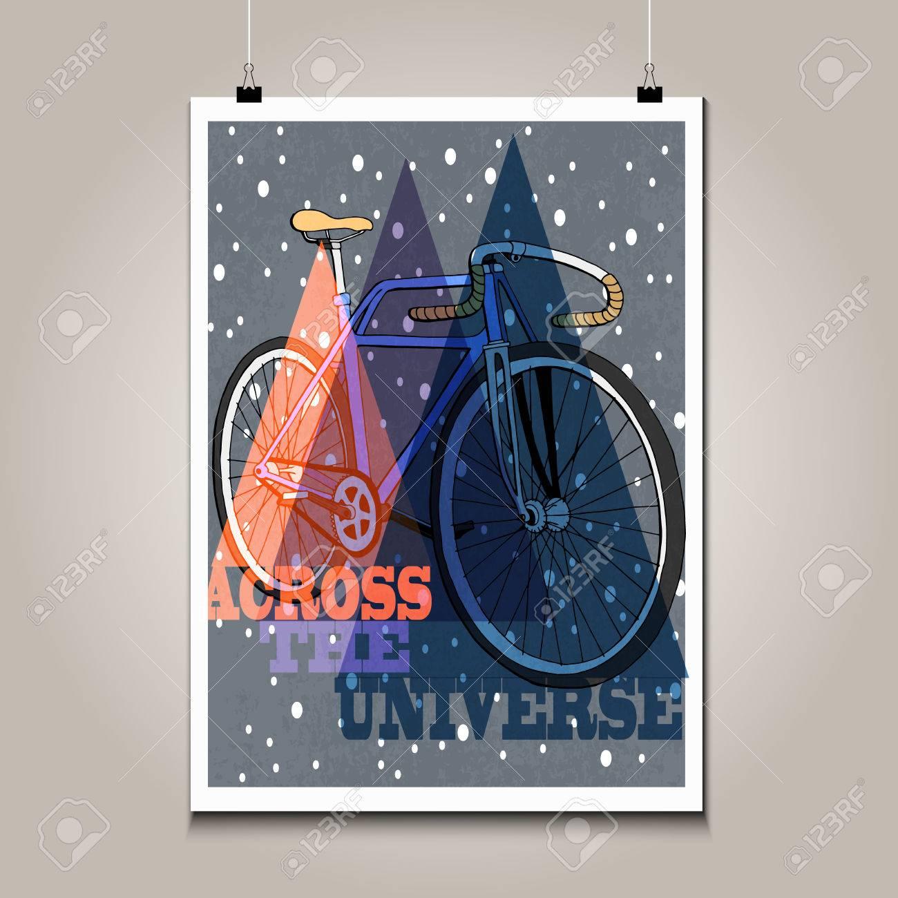 Cartel De La Vendimia Con La Bicicleta De Alto Detalle Textura Grunge Y Frase Motivación