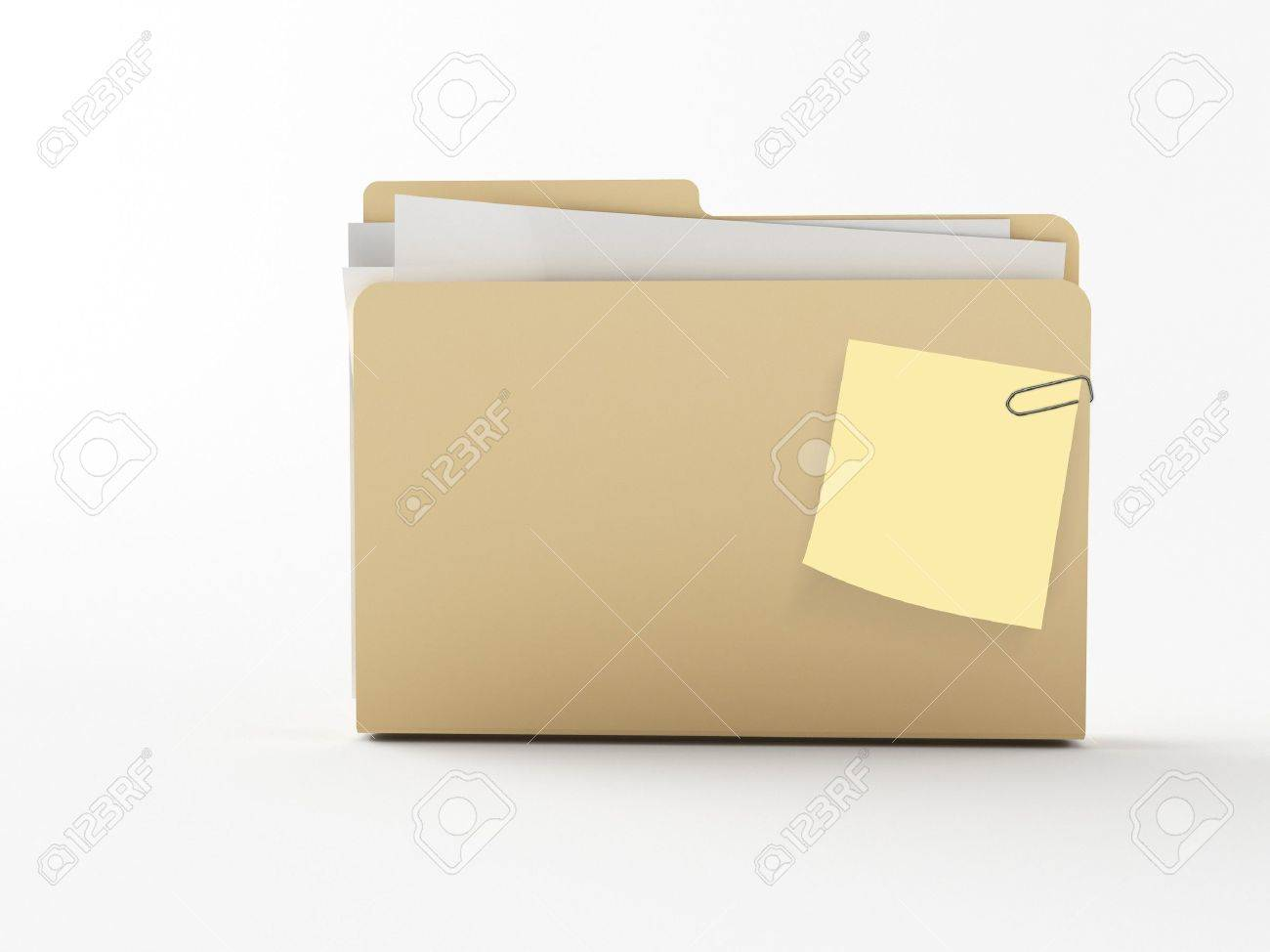 a brown 3d maded folder with a note paper Stock Photo - 7687905