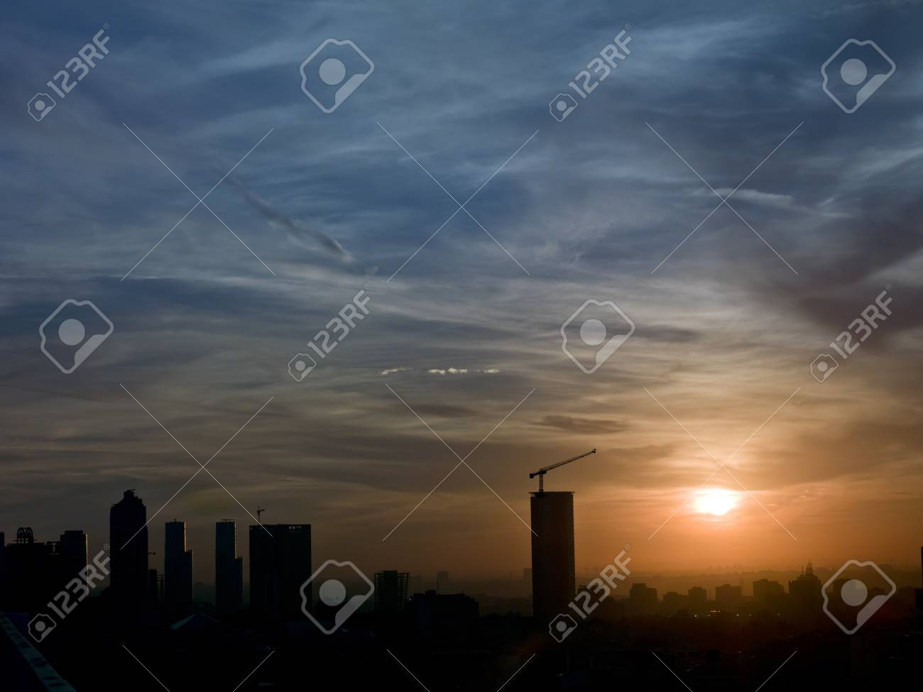 Crane tower on the building with dramatic sunset in Istanbul Stock Photo - 15903858