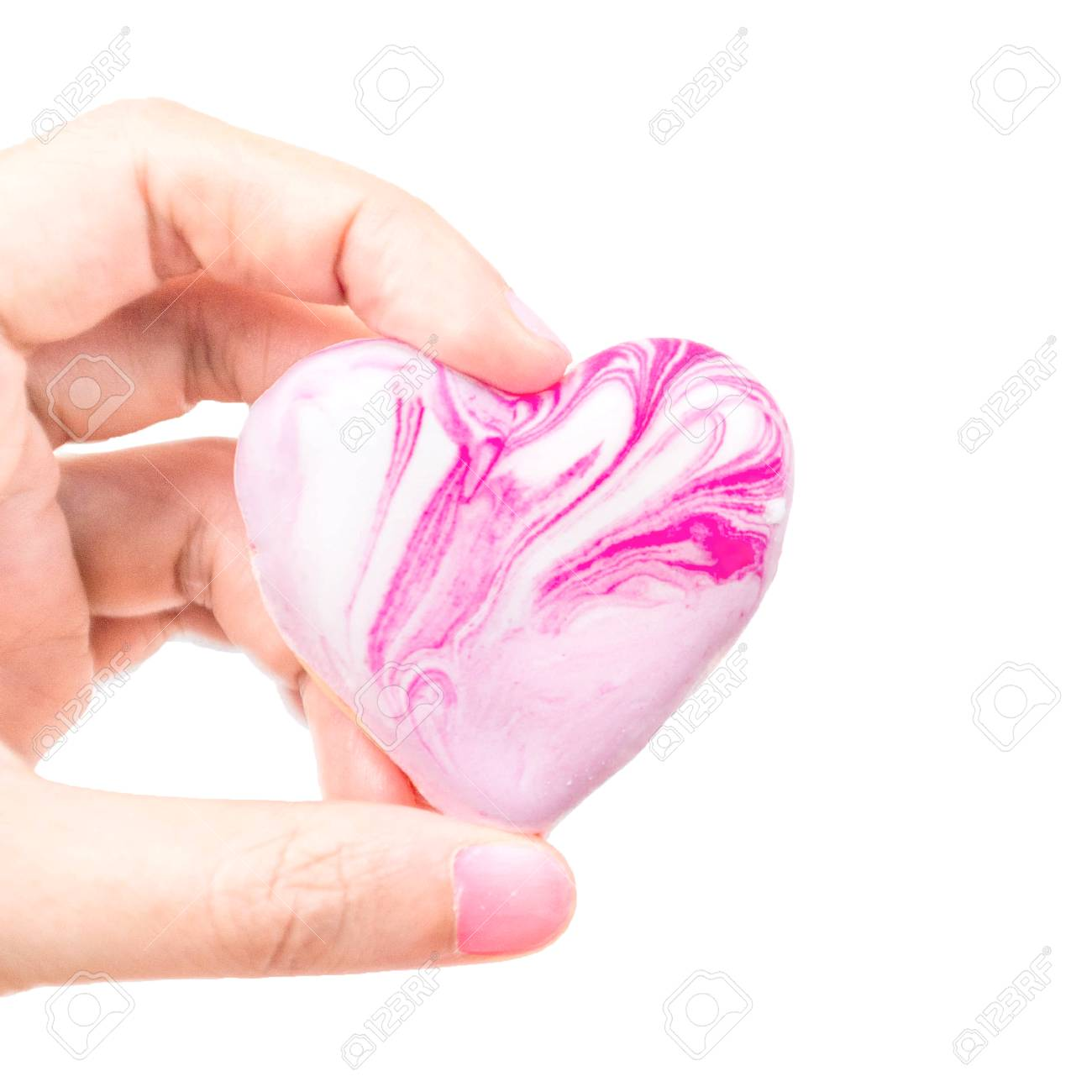 Heart Cookie Lover Pink Biscuit On Hand Holding Love On Marble Stock Photo Picture And Royalty Free Image Image 101971561