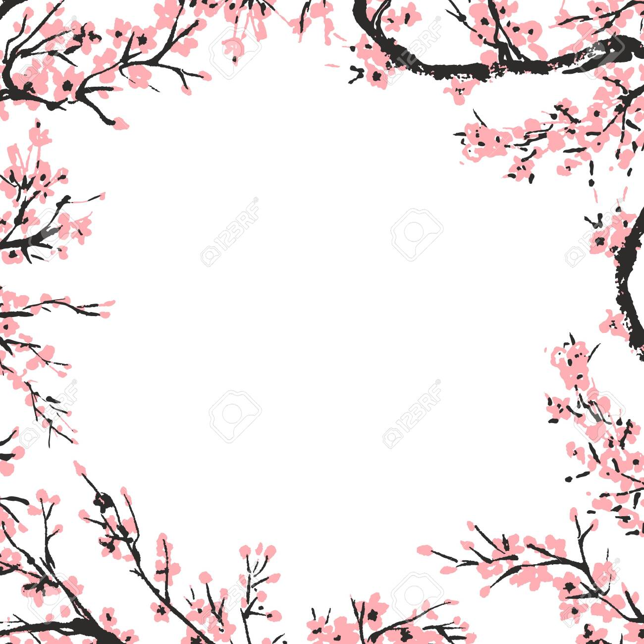Cherry blossom spring floral template with hand drawnes branch with pink cherry flowers blooming. Sakura blossoming banner template. Chinese or Japanese traditional drawing. Vector. - 129030708