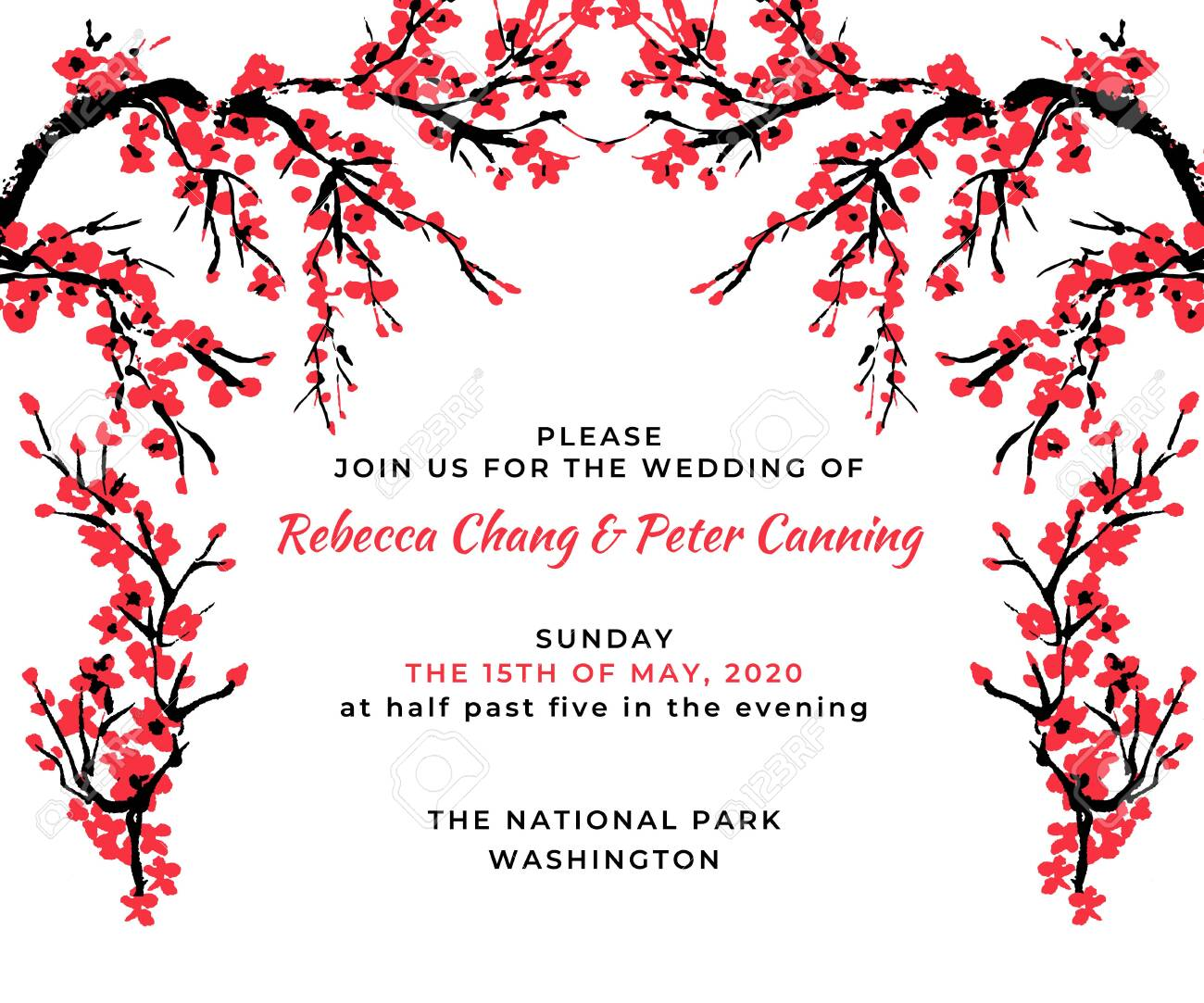 Wedding Invitation Template Cherry Blossom Card With Hand Drawn