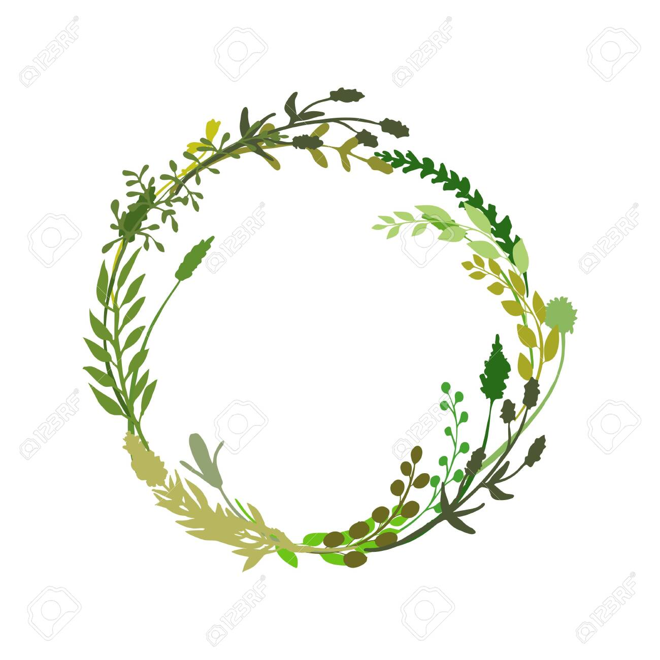 Floral wreath made of grass in circle. Hand drawn wild herbs and flowers. Botanical illustration. Great to place text, quote. Round frame or border. Vector - 140408624