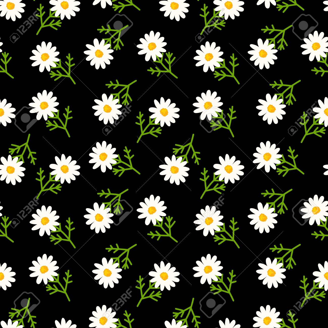 Daisy Seamless Pattern On Black Background Floral Ditsy Print