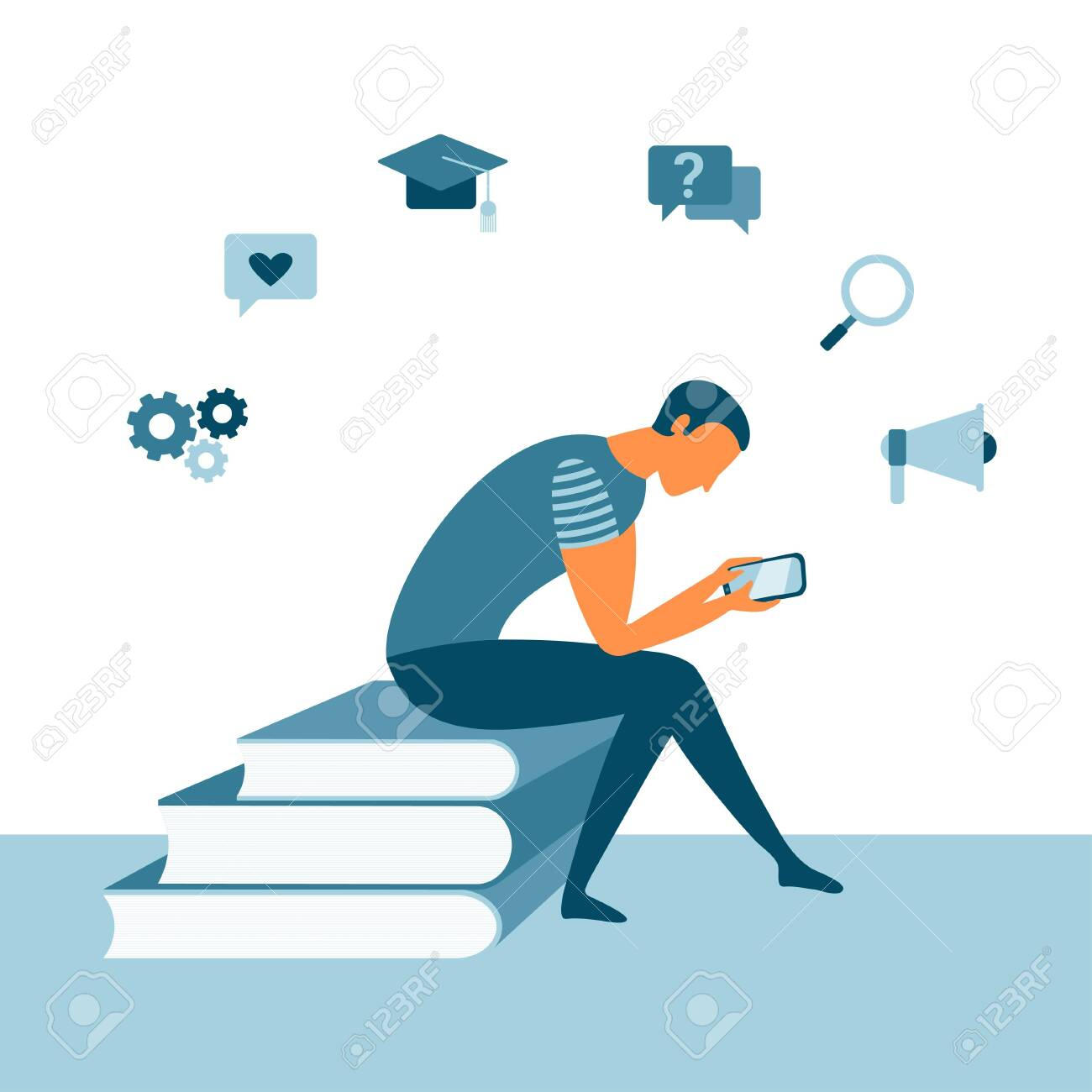 Online reading with a man sitting on books and using a smartphone. Mobile app concept for learning or reading. Education concept. Vector student design - 143047141