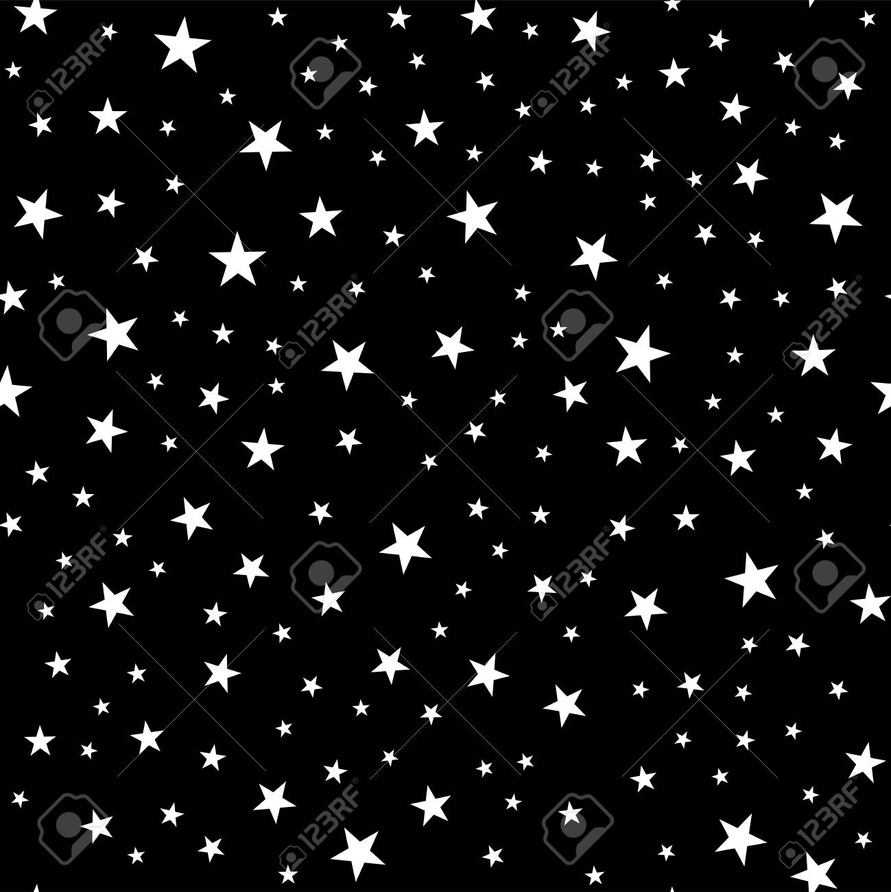 Seamless Pattern From Stars Geometric Background White On A