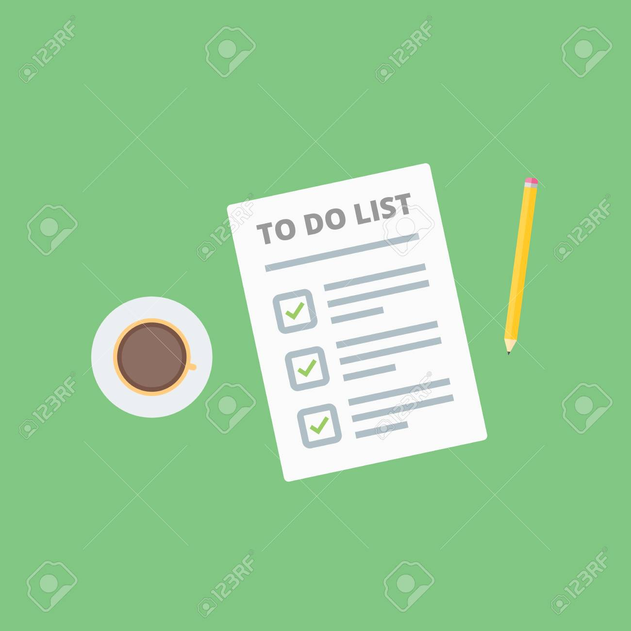 claim form to do list with pencil and coffee cup flat style