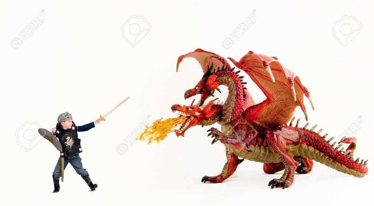 Boy vs. dragon Stock Photo - 4831005