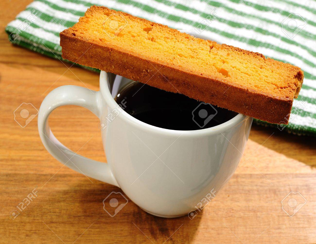 Cookie Coffee Cups Fresh Cup Of Black Coffee With Butter Toast Cookie Kitchen Towel