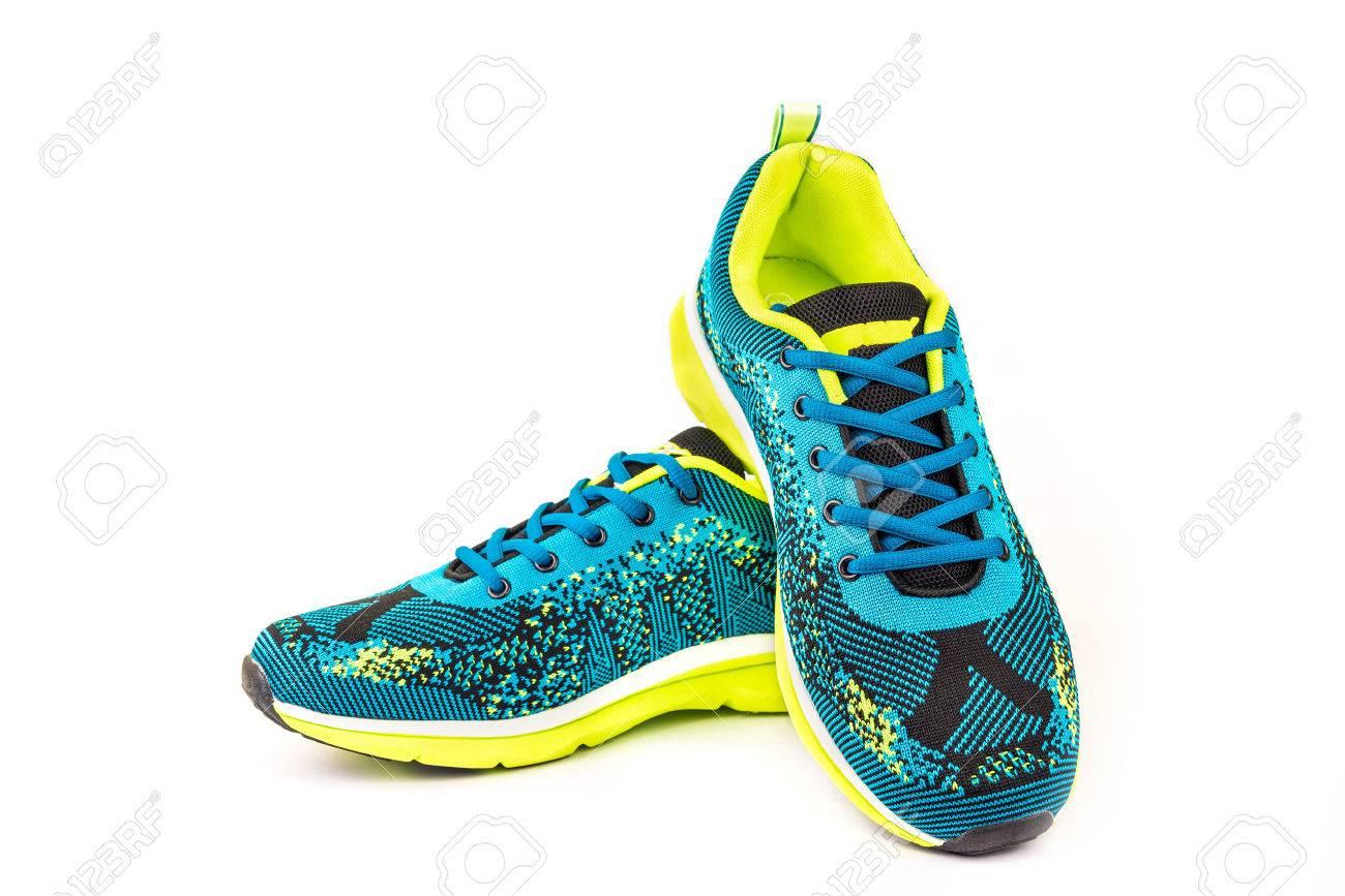 Ergonomic comfortable designer sport shoes in brigh colors over white background - 51331962