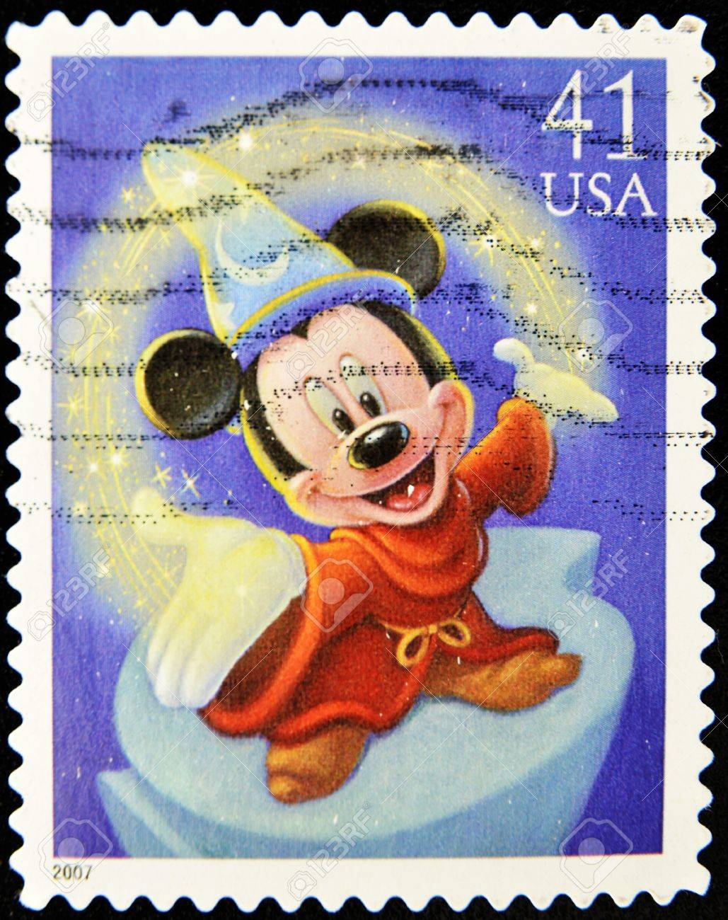 Stamp With Mickey Mouse In Disney Movie Fantasy Stock Photo