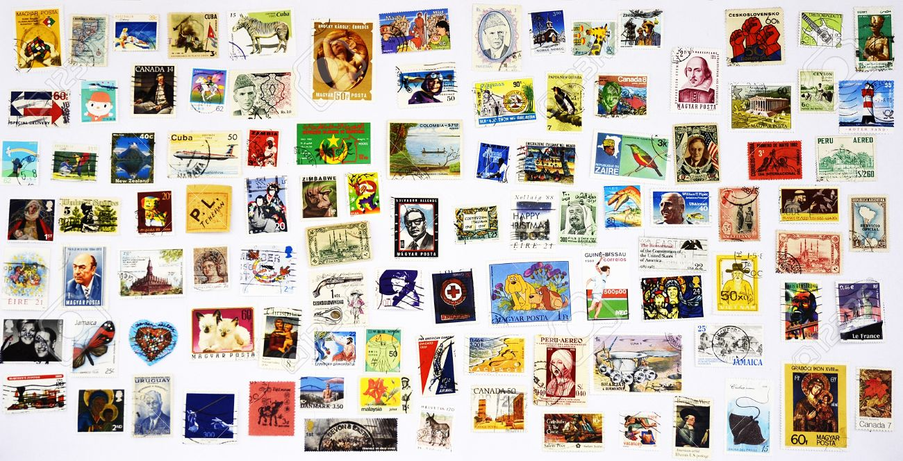 100 different stamps from around the world Stock Photo - 10568818
