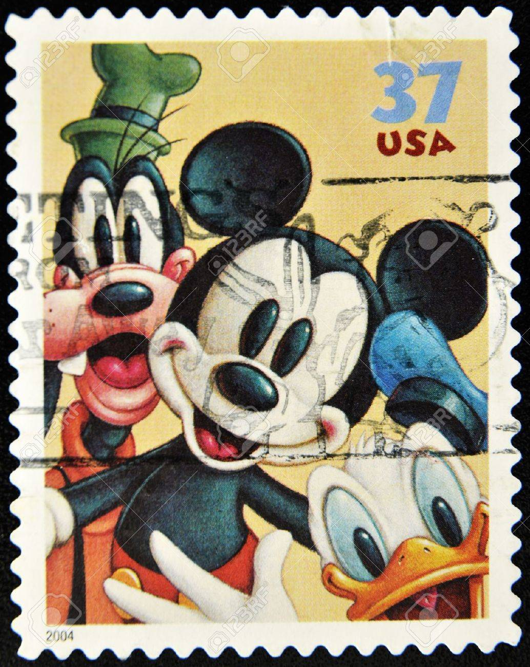 Stamp With Goofy Mickey Mouse And Donald Duck Stock Photo