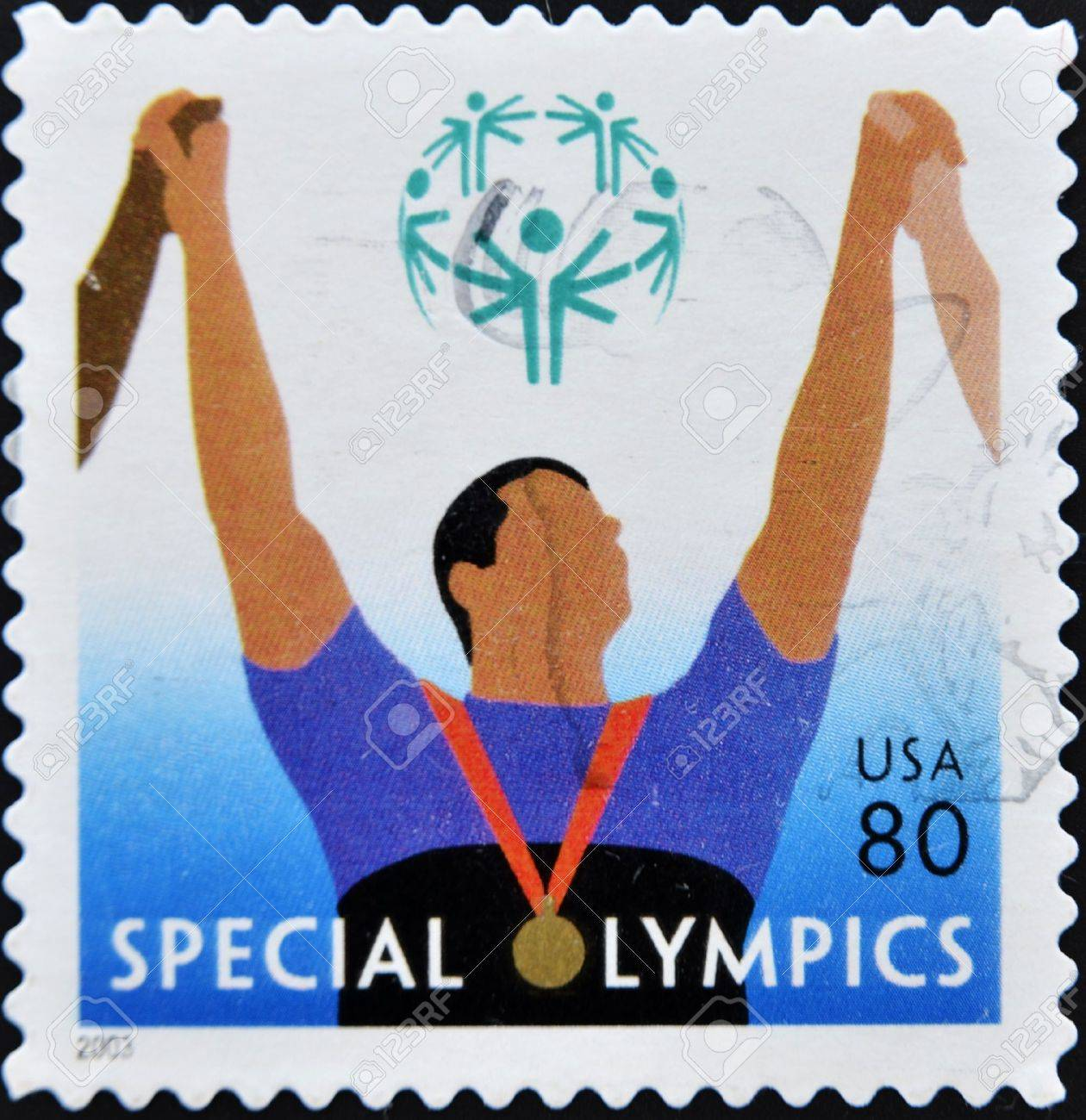 UNITED STATES OF AMERICA - CIRCA 2003: A stamp printed in the United States of America shows image celebrating the Special Olympics, series, circa 2003  Stock Photo - 11085303