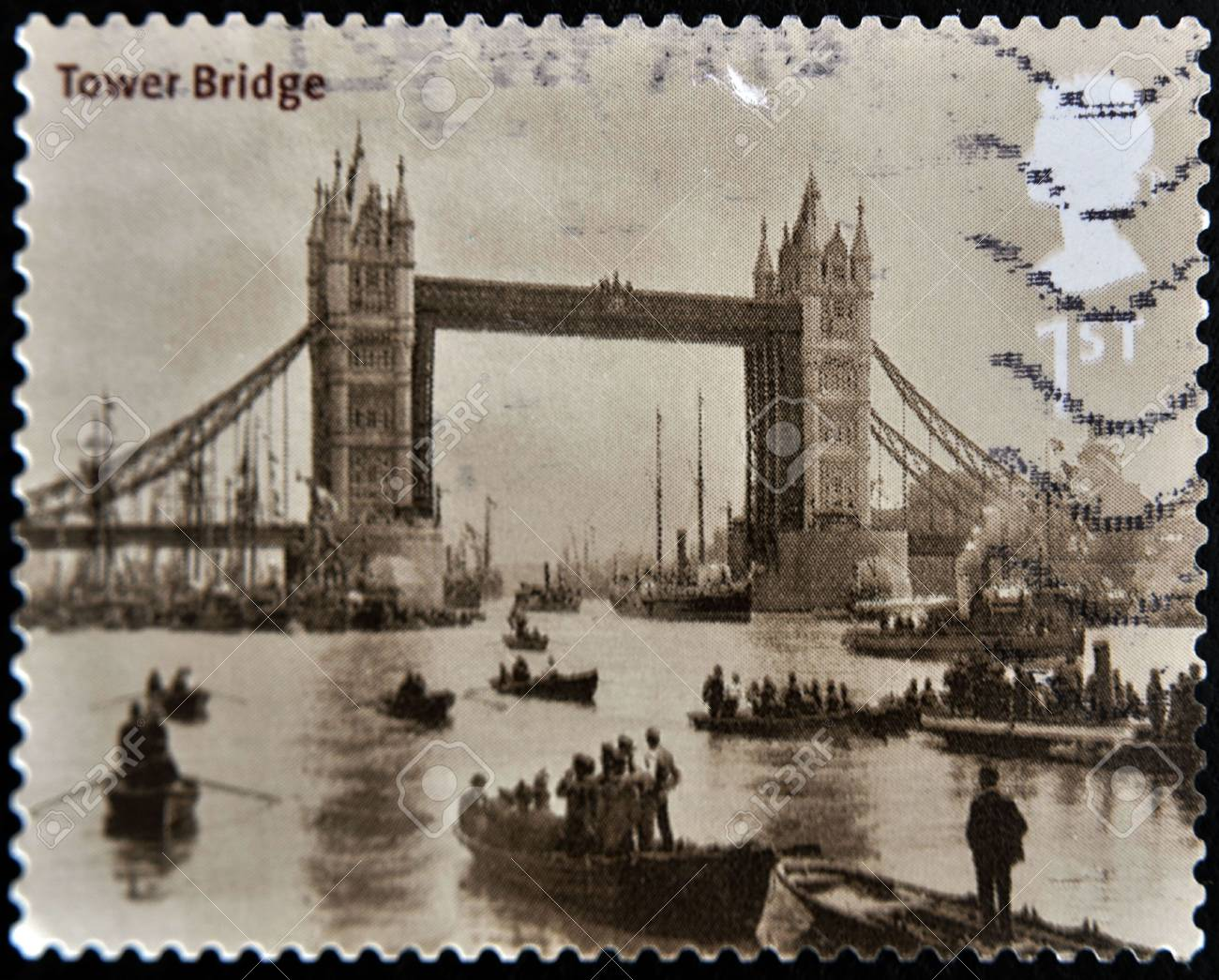 UNITED KINGDOM - CIRCA 2002: A stamp printed in Great Britain shows tower bridge in London, circa 2002 Stock Photo - 11438933