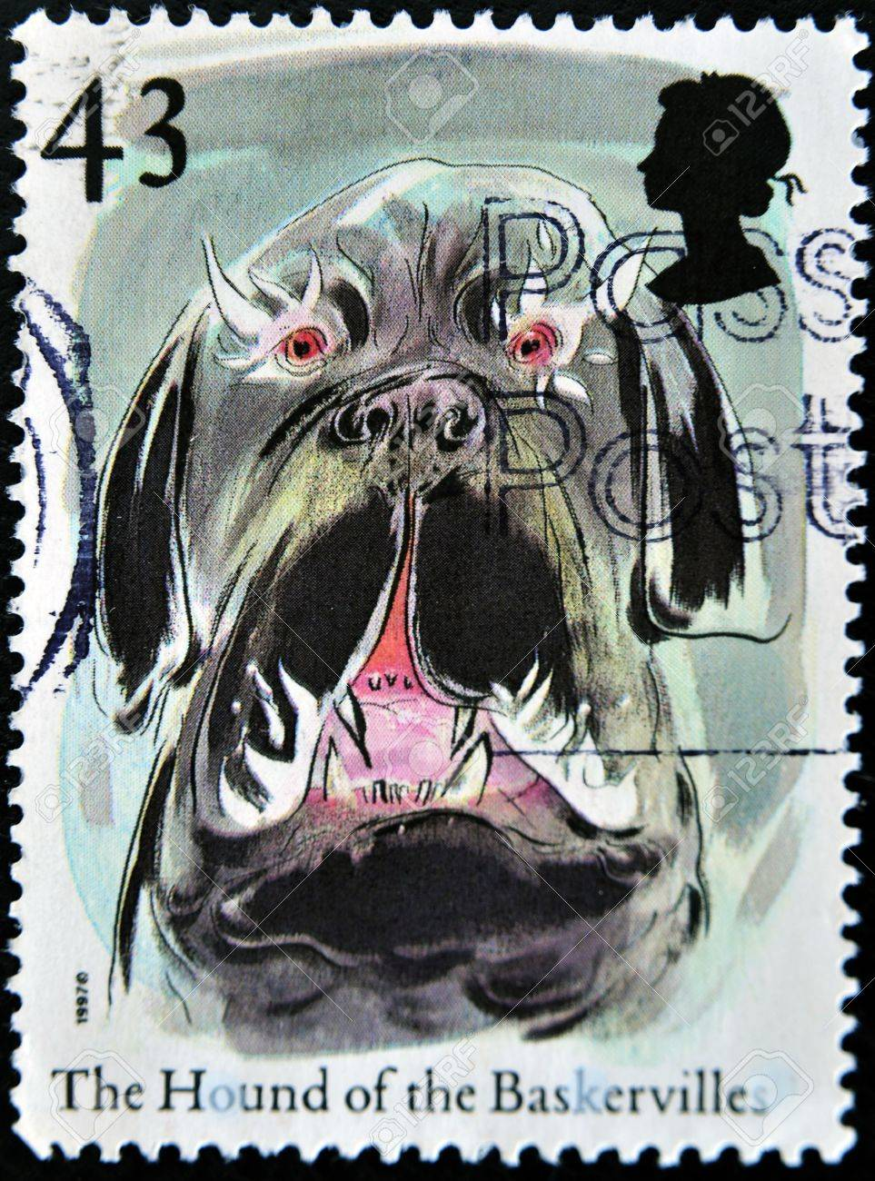 UNITED KINGDOM - CIRCA 1997: A stamp printed in Great Britain shows the hound of the baskervilles, circa 1997 Stock Photo - 11438941