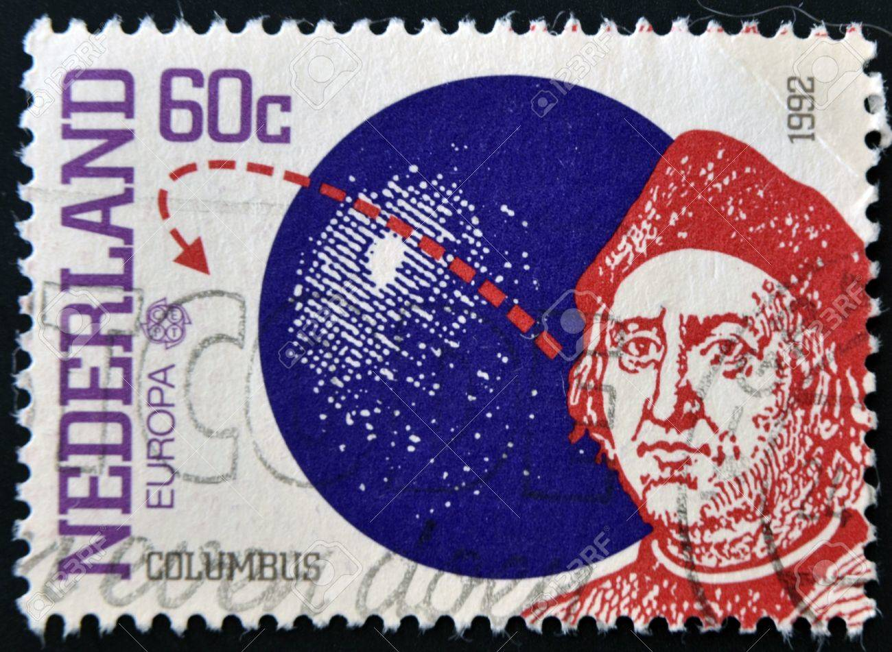HOLLAND - CIRCA 1992: A stamp printed in Netherlands shows Columbus, circa 1992 Stock Photo - 11439069