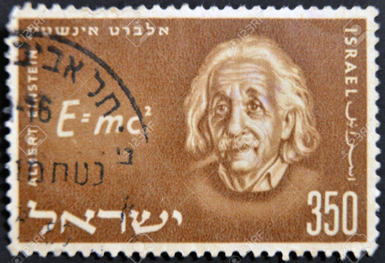 ISRAEL - CIRCA 1956: A stamp printed in Israel shows Albert Einstein, circa 1956 Stock Photo - 11439133