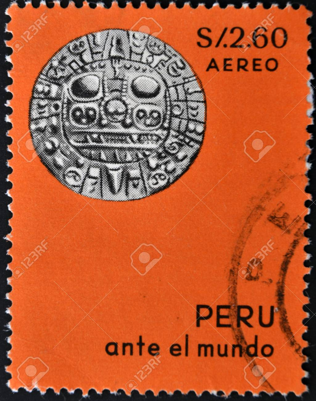 PERU - CIRCA 1970: A stamp printed in Peru shows Maya solar calendar,