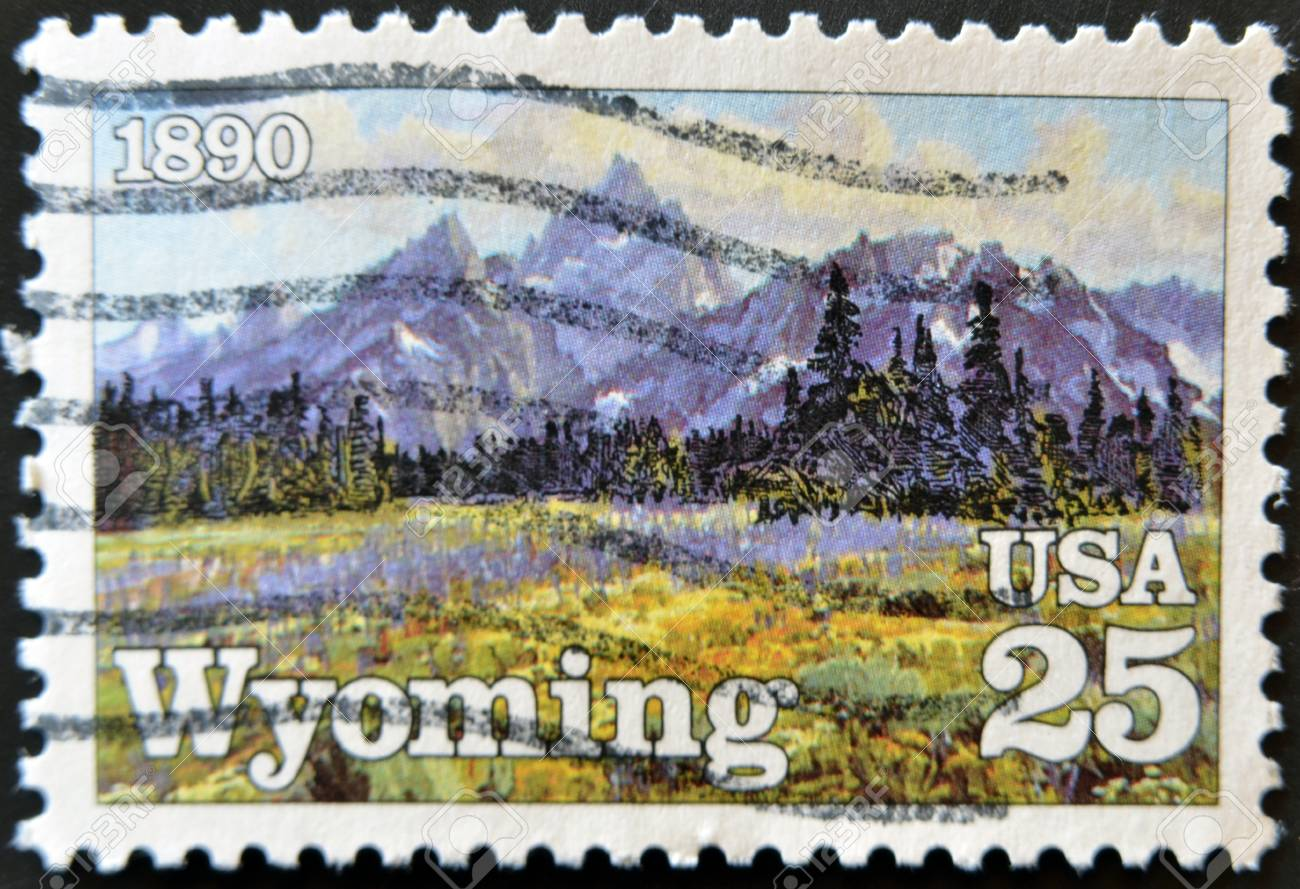 UNITED STATES OF AMERICA - CIRCA 1990 :A stamp printed in USA dedicated to State of Wyoming , circa 1990 Stock Photo - 11582084