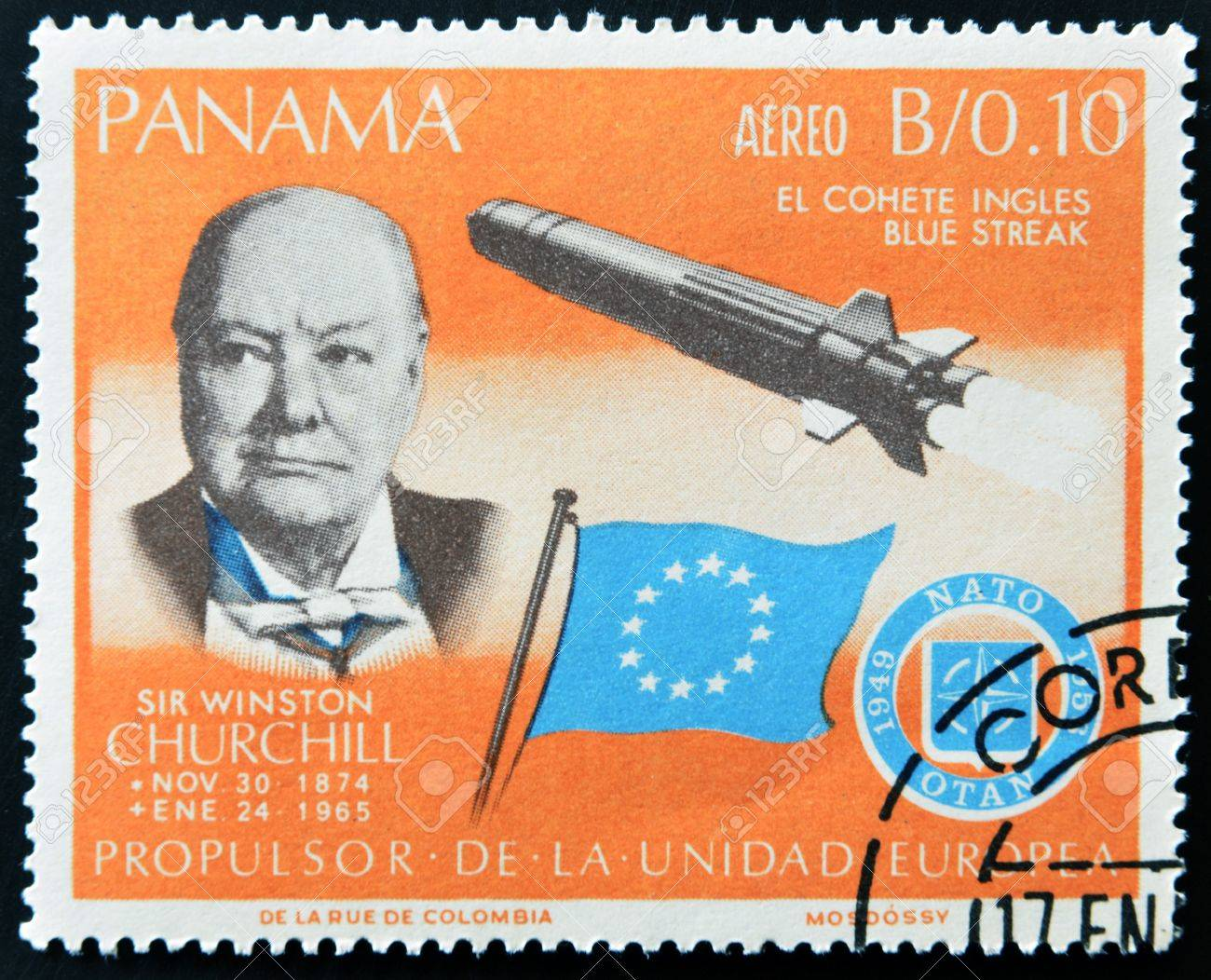 PANAMA - CIRCA 1966: A stamp printed by Panama, shows Sir Winston Churchill and rocket Blue streak, circa 1966  Stock Photo - 11805097