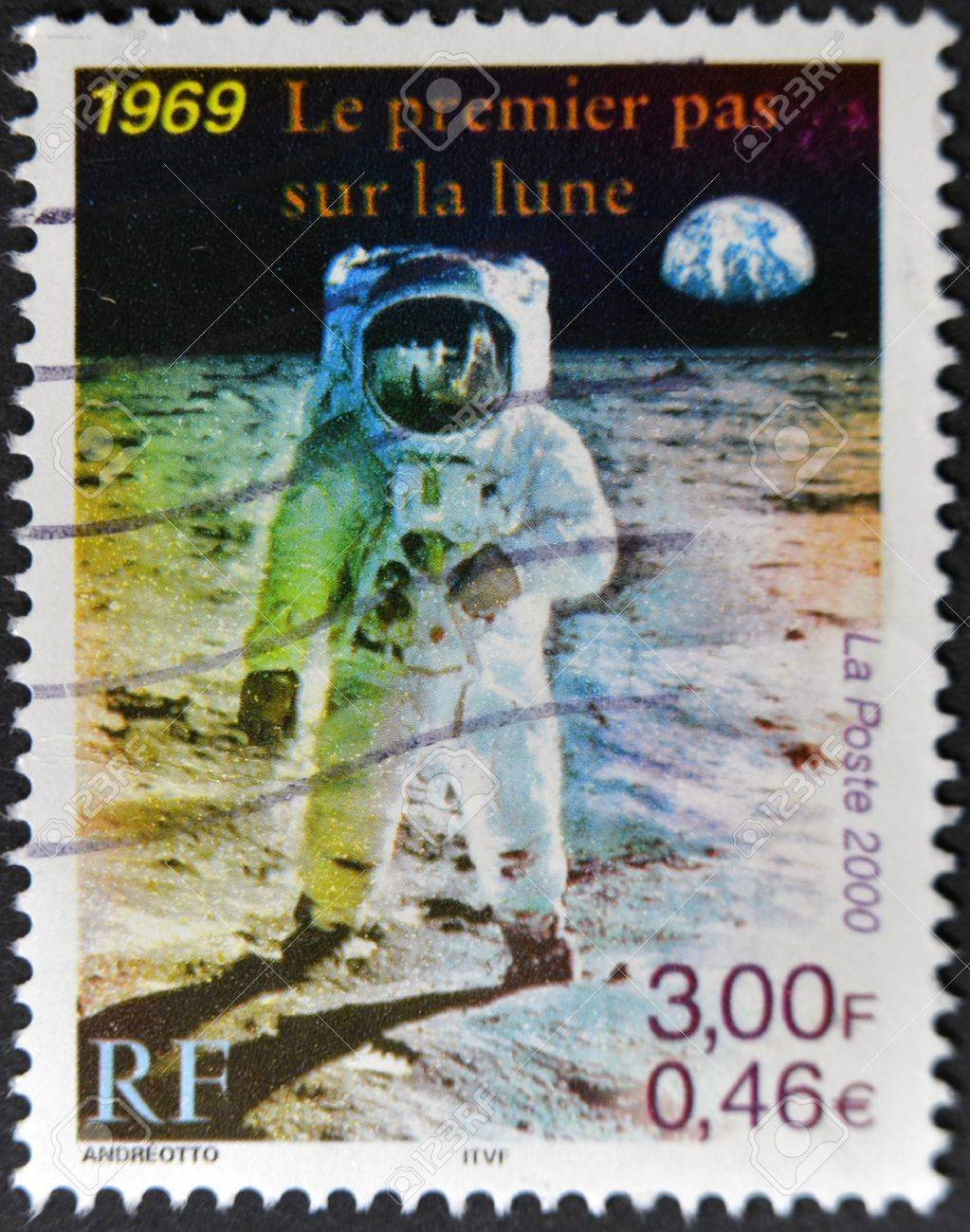 FRANCE - CIRCA 2000: A stamp printed in France shows the first