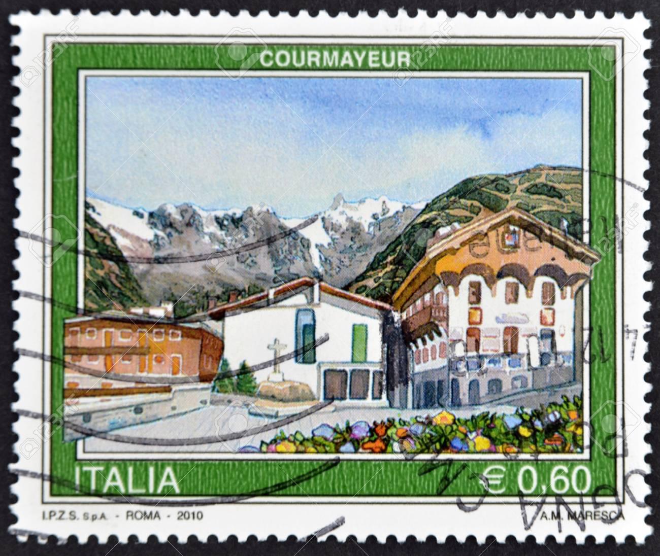 ITALY - CIRCA 2010: A stamp printed in Italy shows Courmayeur, circa 2010 Stock Photo - 11813779