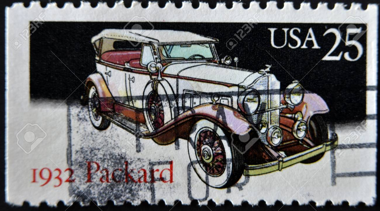 UNITED STATES - CIRCA 1988: stamp printed in USA shows Locomobile, packard, circa 1988 Stock Photo - 11815645