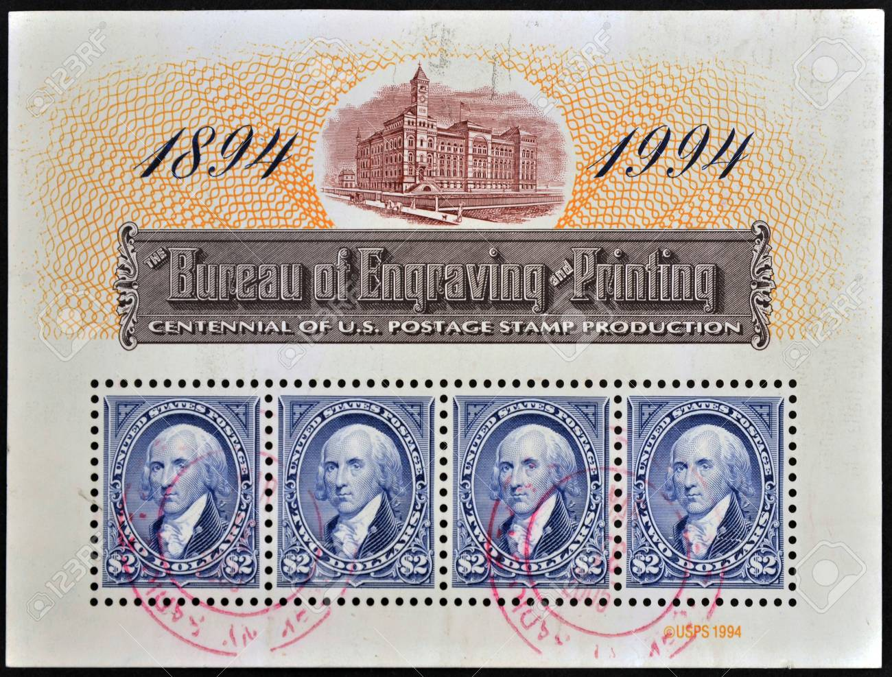UNITED STATES OF AMERICA - CIRCA 1994: A stamp printed in USA dedicated to centennial of U.S. postage stamp production shows George Washington, circa 1994 Stock Photo - 11952892