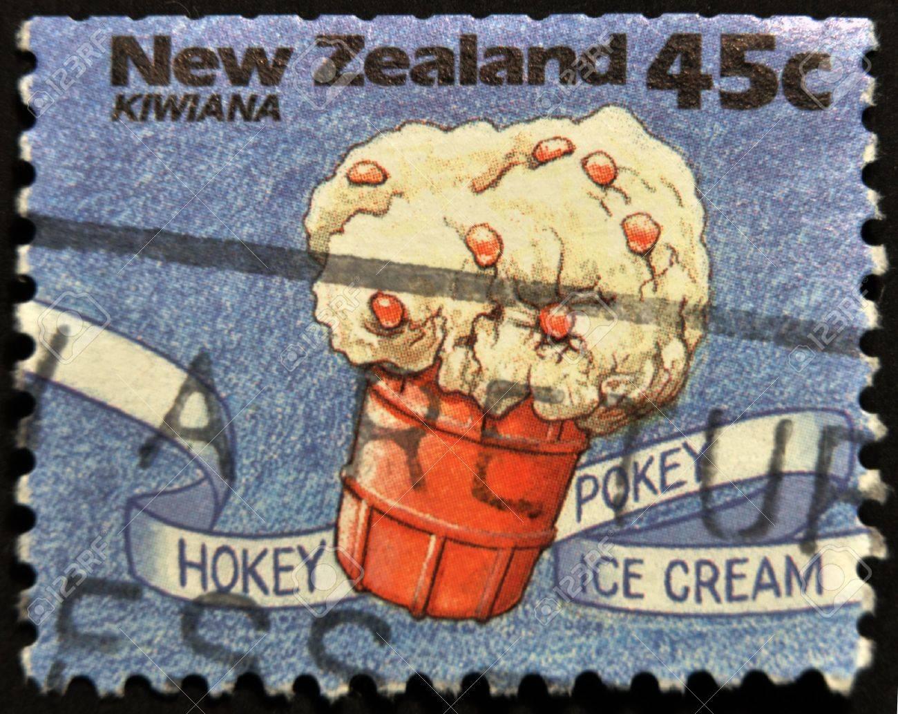 NEW ZEALAND - CIRCA 1994: A stamp printed in New Zealand shows hokey pokey ice cream, Kiwiana series, circa 1994 Stock Photo - 12039692