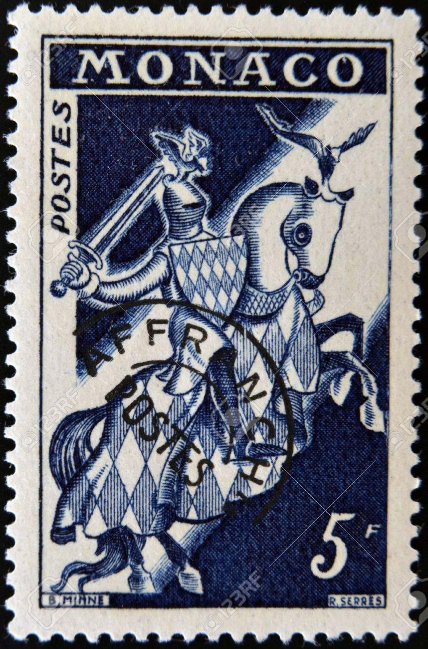 MONACO - CIRCA 1960: A stamp printed in Monaco shows Knight in Armor, circa 1960 Stock Photo - 12207440