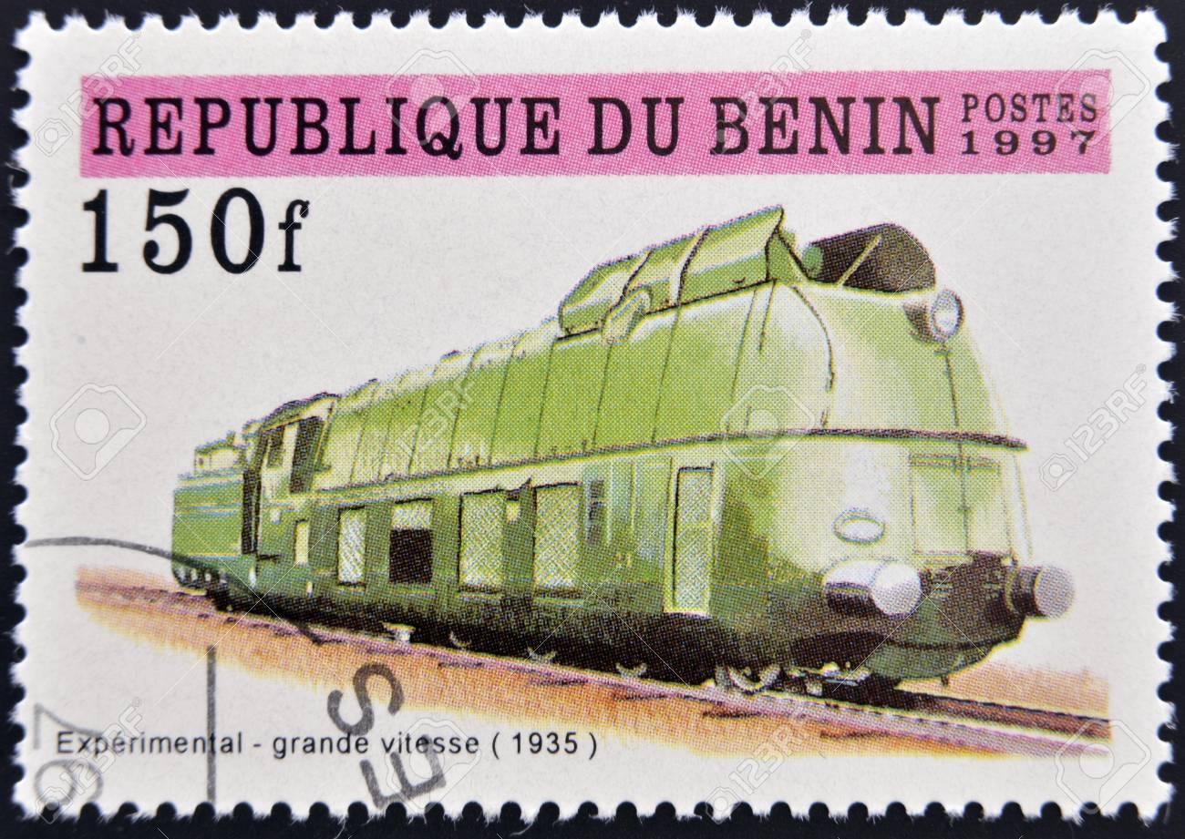 BENIN - CIRCA 1997: A stamp printed in Benin showing train, circa 1997 Stock Photo - 13292117