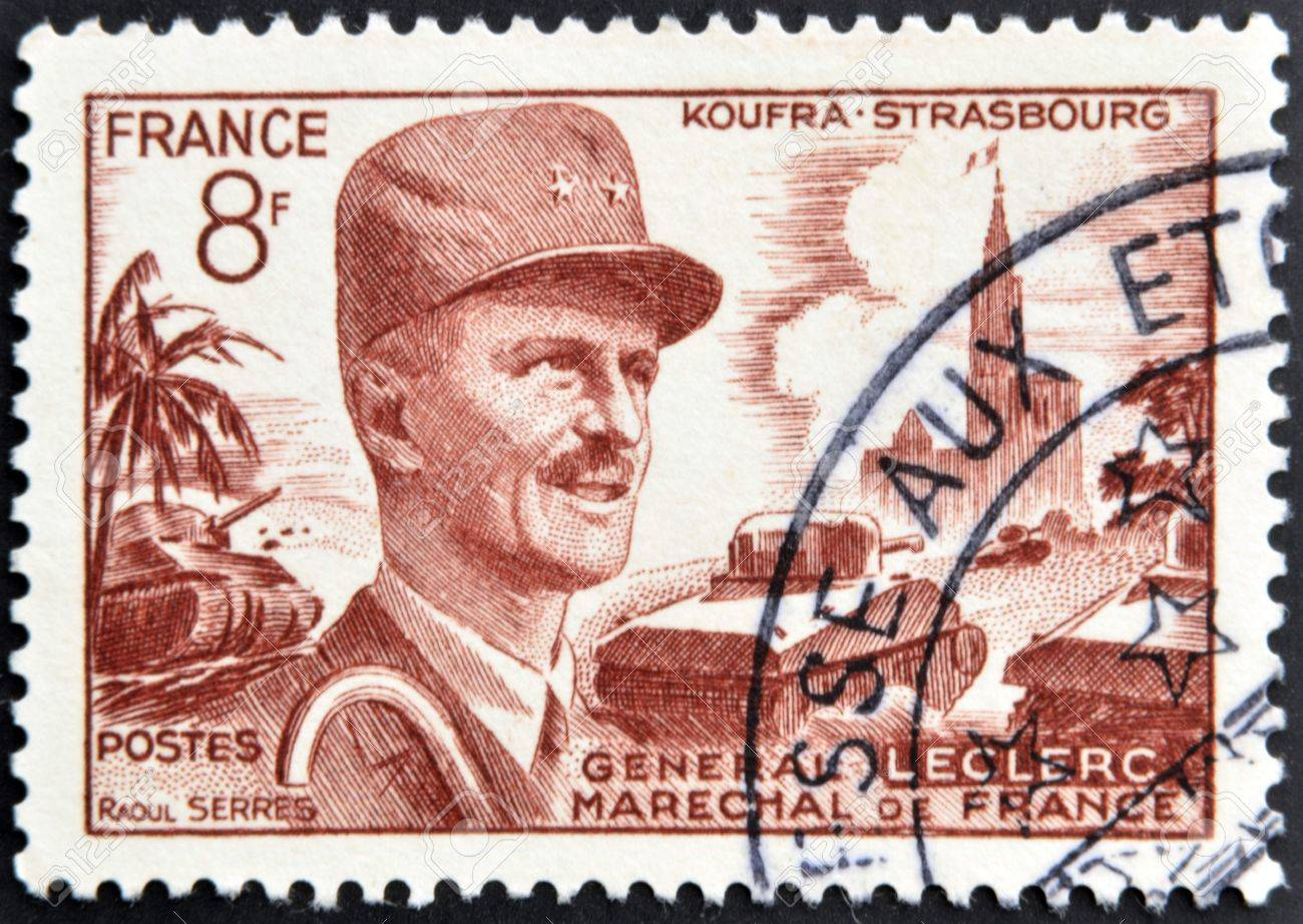 FRANCE - CIRCA 1948: A stamp printed in France shows General Leclerc, Marshal of France, circa 1948 Stock Photo - 13289182