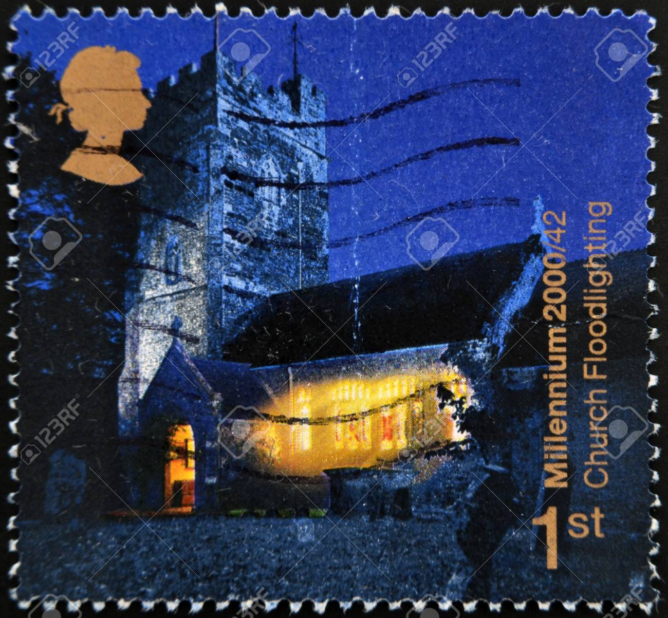 UNITED KINGDOM - CIRCA 2000: A stamp printed in England, is dedicated to Church floodlighting project, circa 2000 Stock Photo - 13291832