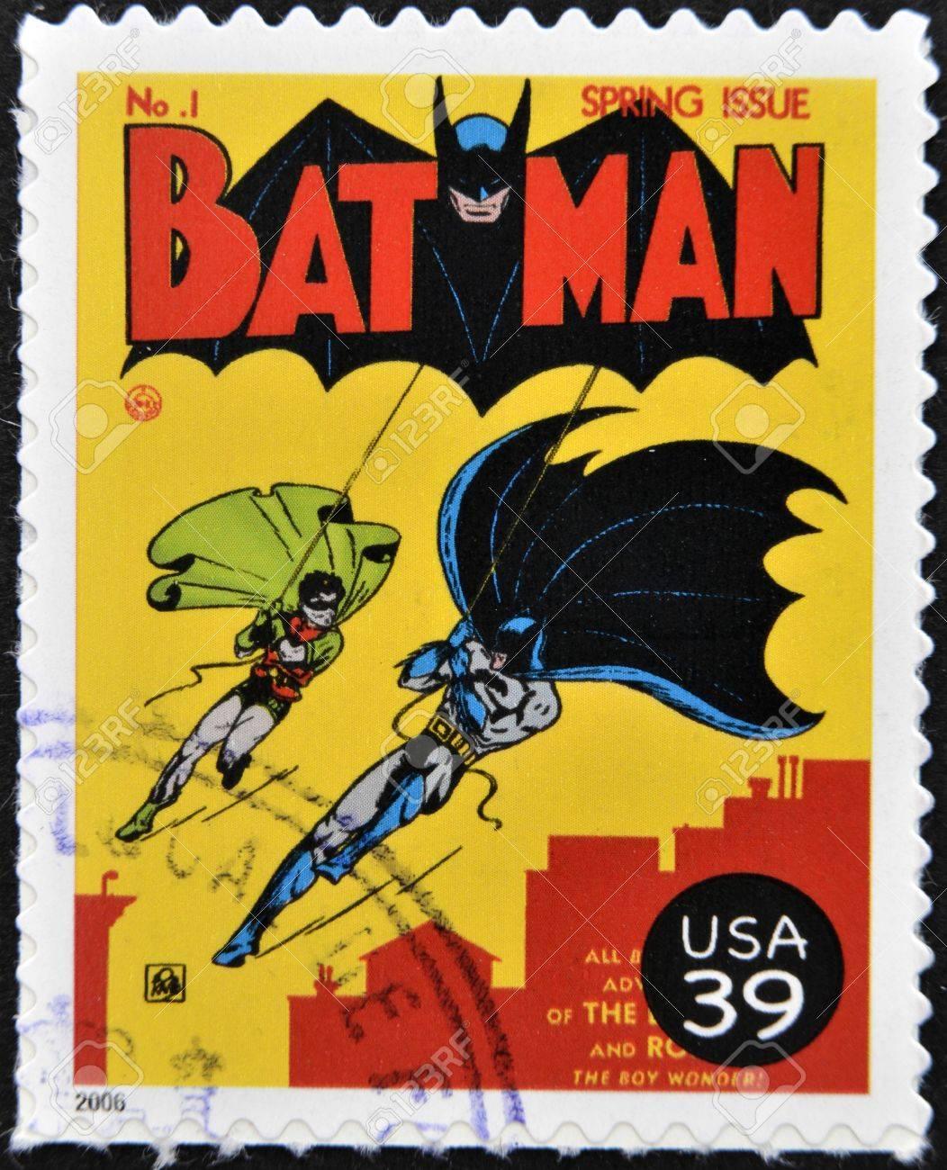 UNITED STATES OF AMERICA - CIRCA 2006: stamp printed in USA shows Batman and Robin, circa 2006  Stock Photo - 13289358