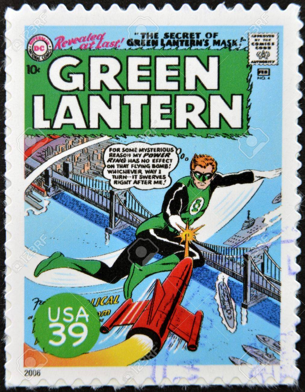 UNITED STATES OF AMERICA - CIRCA 2006: stamp printed in USA shows Green Lantern, circa 2006  Stock Photo - 13289036