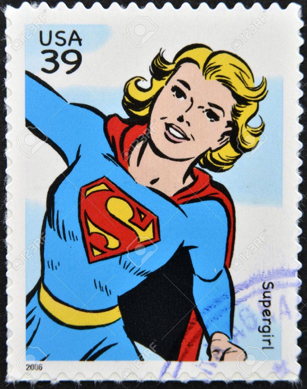 UNITED STATES OF AMERICA - CIRCA 2006: stamp printed in USA shows Supergirl, circa 2006  Stock Photo - 13289204