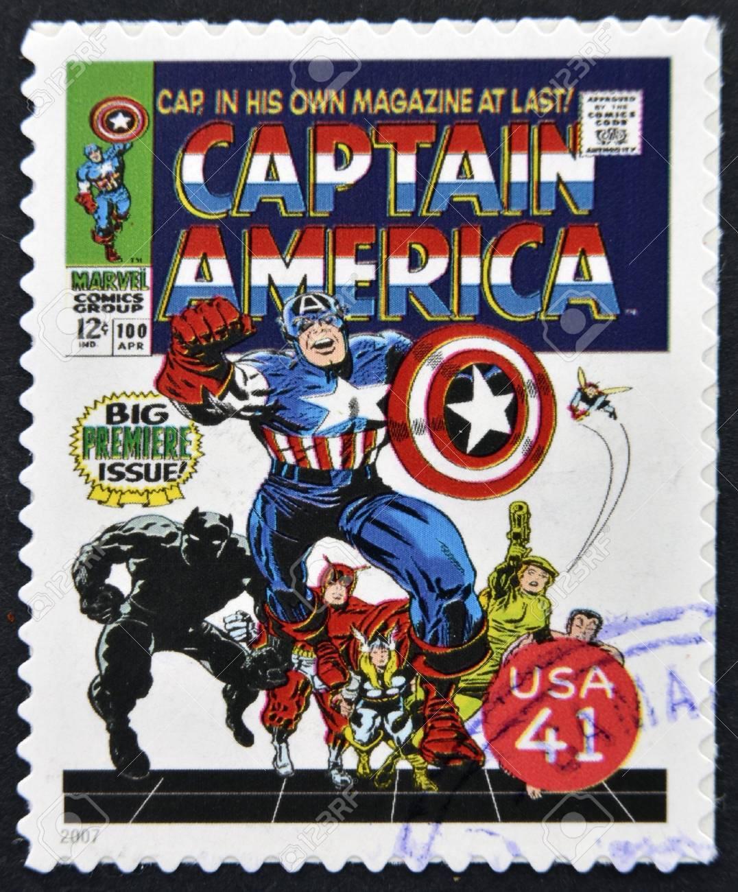 UNITED STATES OF AMERICA - CIRCA 2007: stamp printed in USA shows Captain America, circa 2007  Stock Photo - 13289421