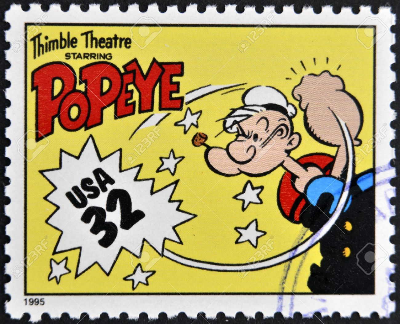 UNITED STATES OF AMERICA - CIRCA 1995: A stamp printed in USA dedicated to comic strip classics, shows Popeye, circa 1995  Stock Photo - 13322980