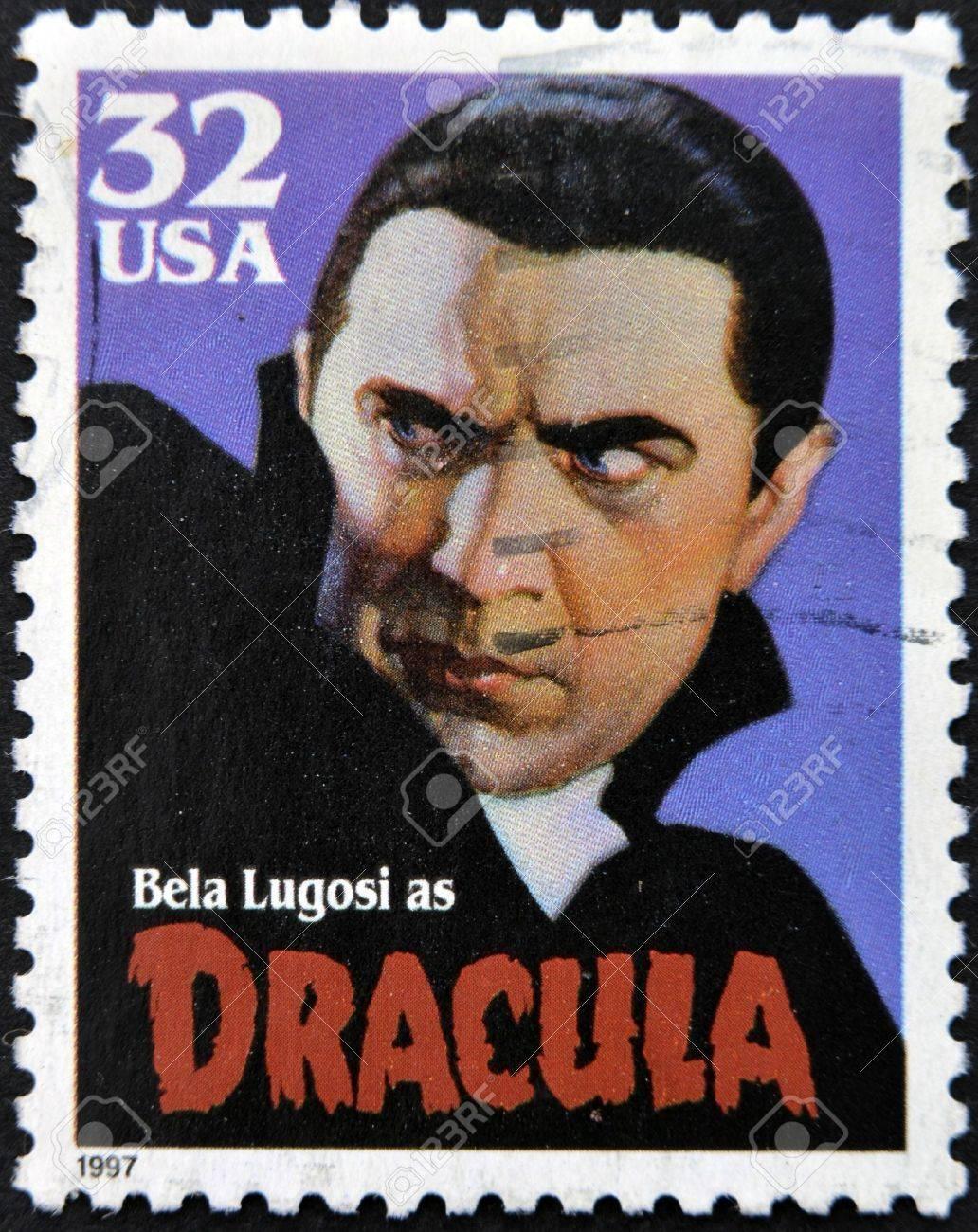 UNITED STATES OF AMERICA - CIRCA 1997: A stamp printed in USA shows Bela Lugosi as Dracula, circa 1997 Stock Photo - 13749307